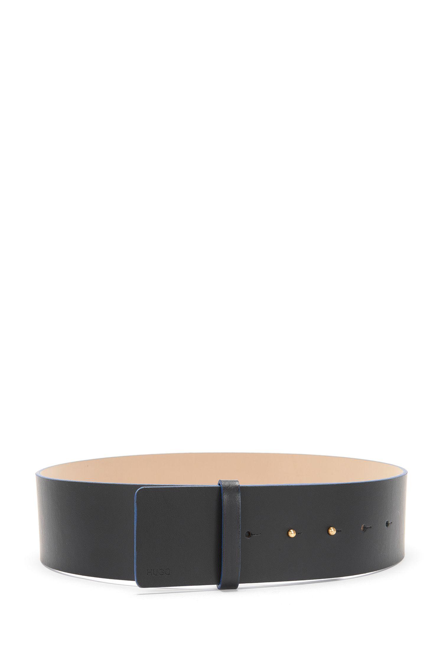 Large ceinture en cuir avec fermoir à poinçon: «Leda»