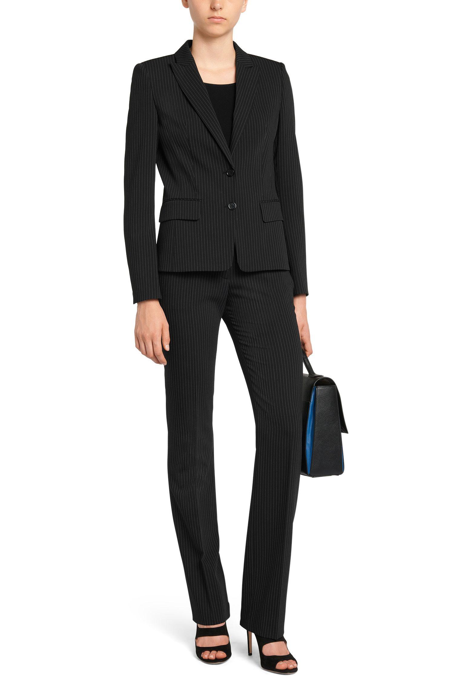 Pantalon de coupe droite agrémenté d'un motif à rayures tennis: «Hinass-5»