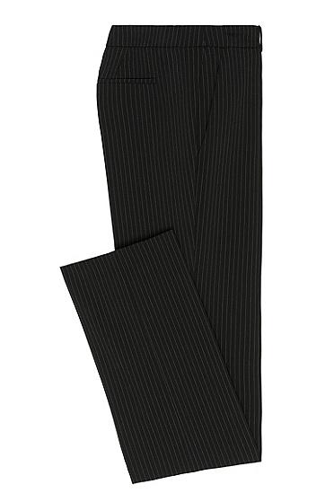 Gerade geschnittene Hose im Nadelstreifen-Dessin: 'Hinass-5', Schwarz