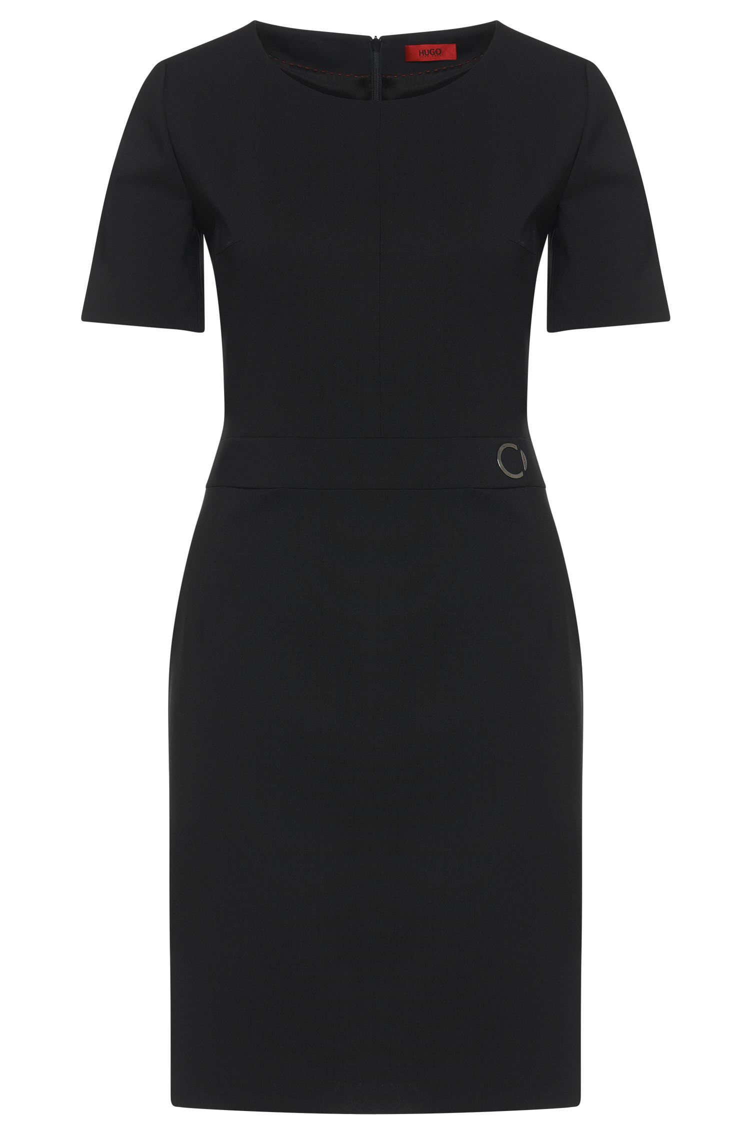 Plain sheath dress in stretch new wool: 'Karenas'