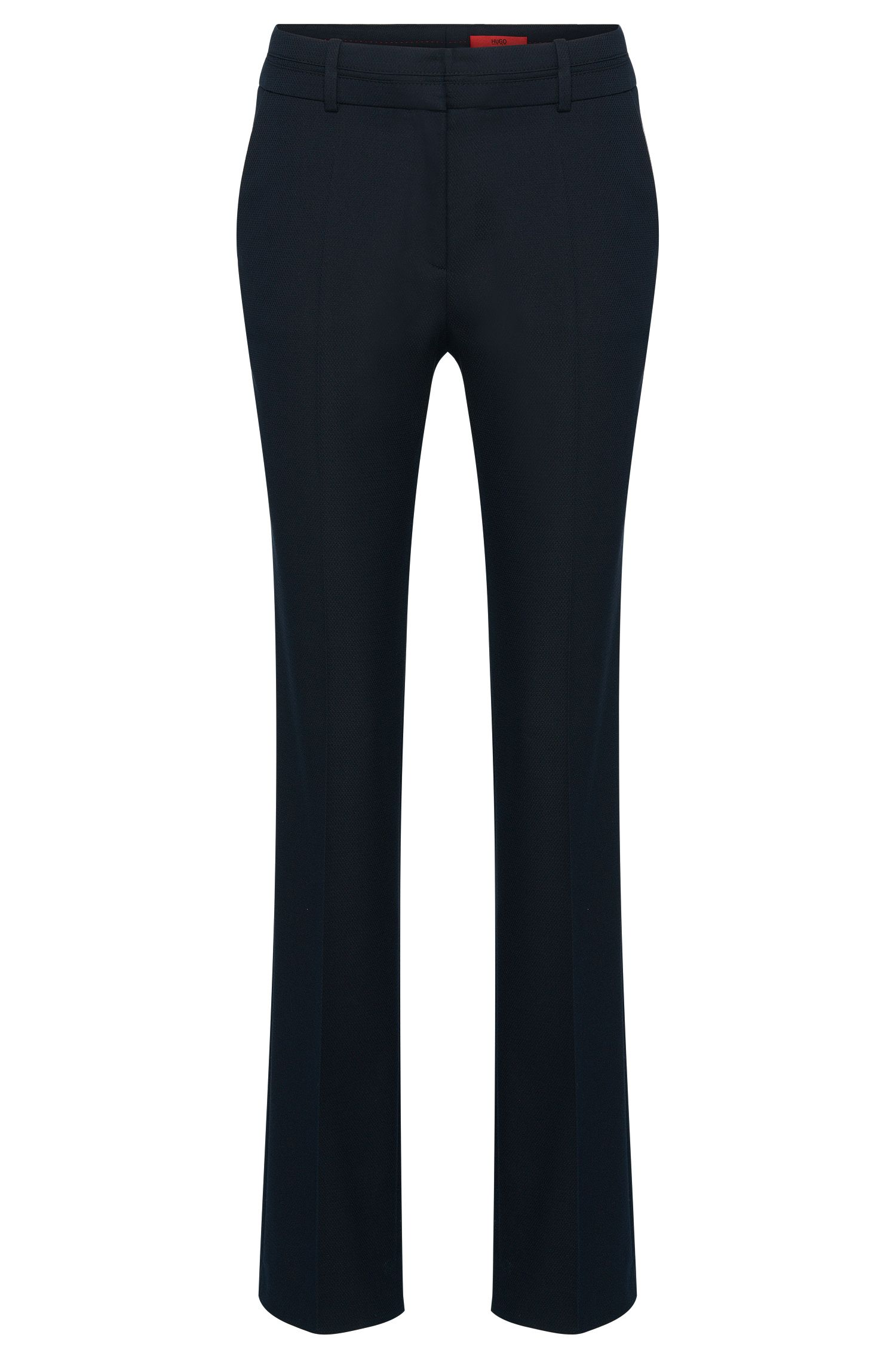 Straight-cut trousers in cotton blend with textured pattern: 'Halune'