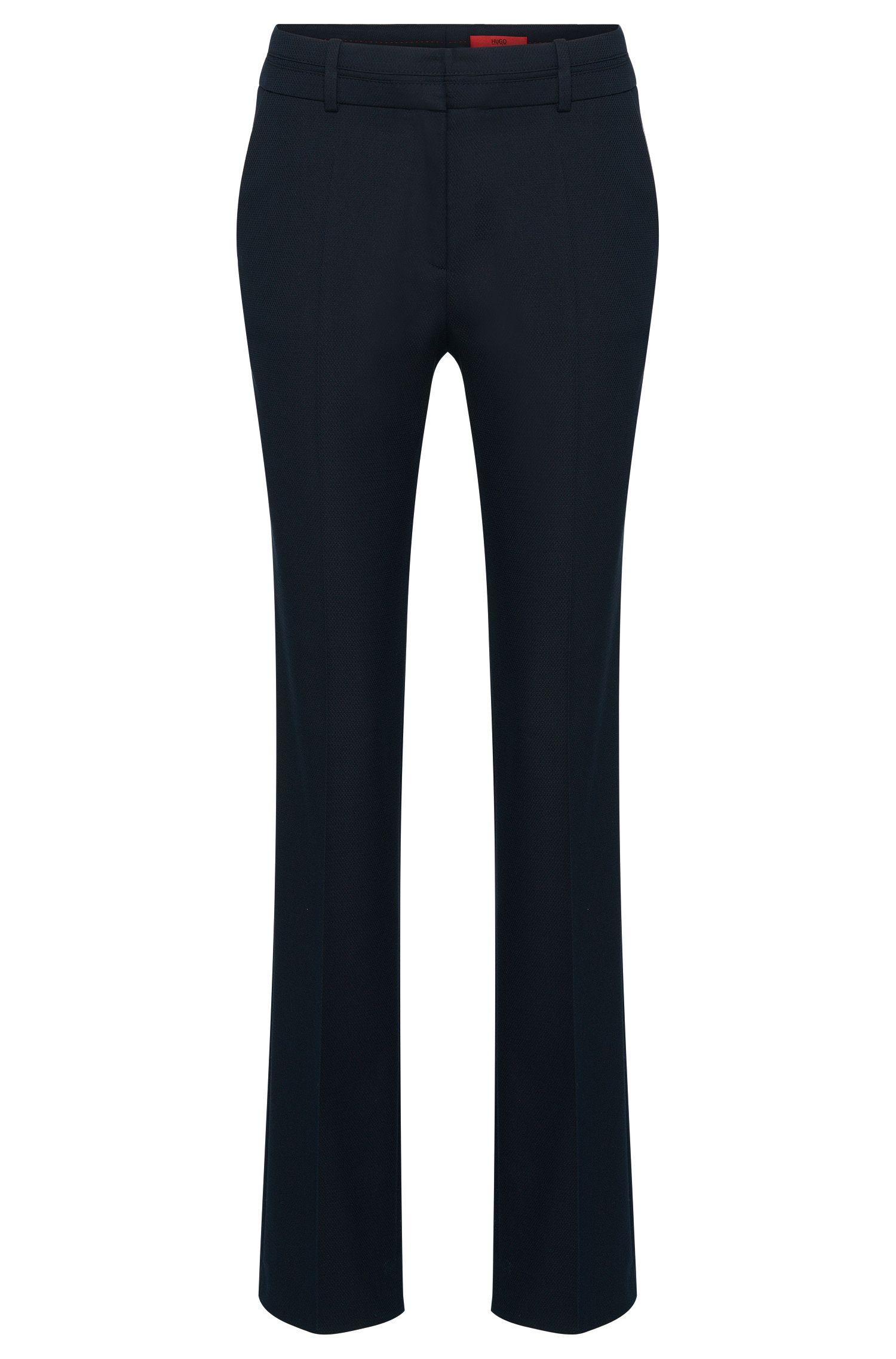 Pantalon de coupe droite en coton mélangé orné d'un motif structuré: «Halune»