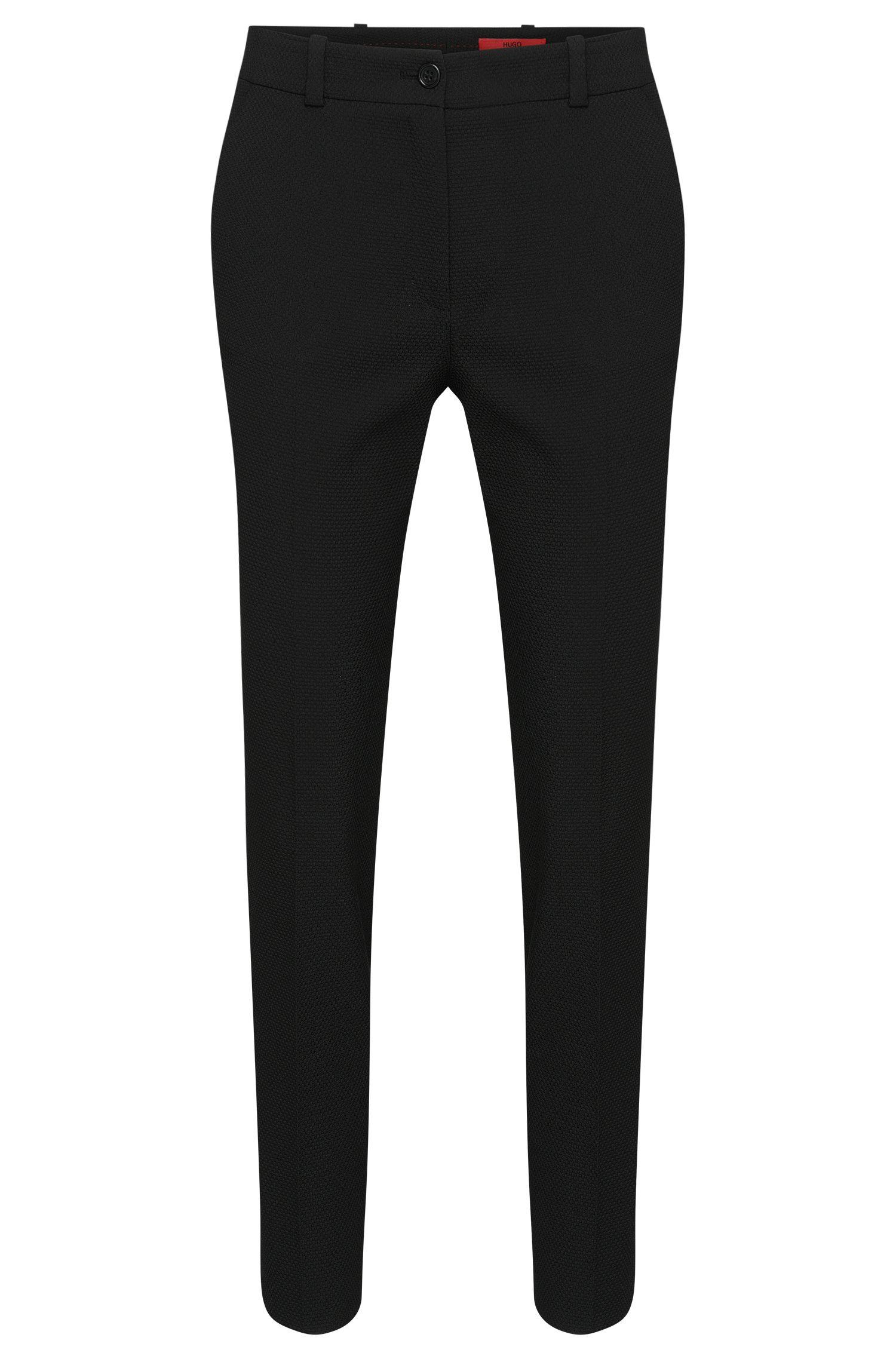 Pantalon de coupe droite en mélange de matières à motif structuré: «Havine»