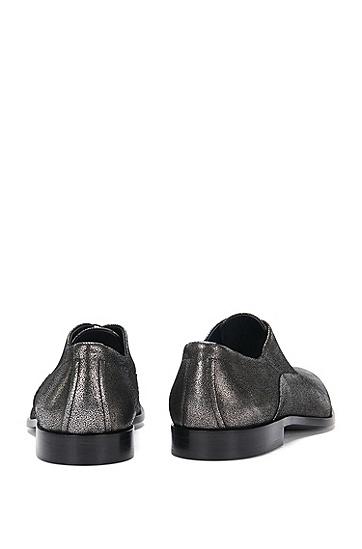 Schnürschuhe aus Leder im Metallic-Look: 'Sigma_Oxfr_sdgl', Dunkelgrau