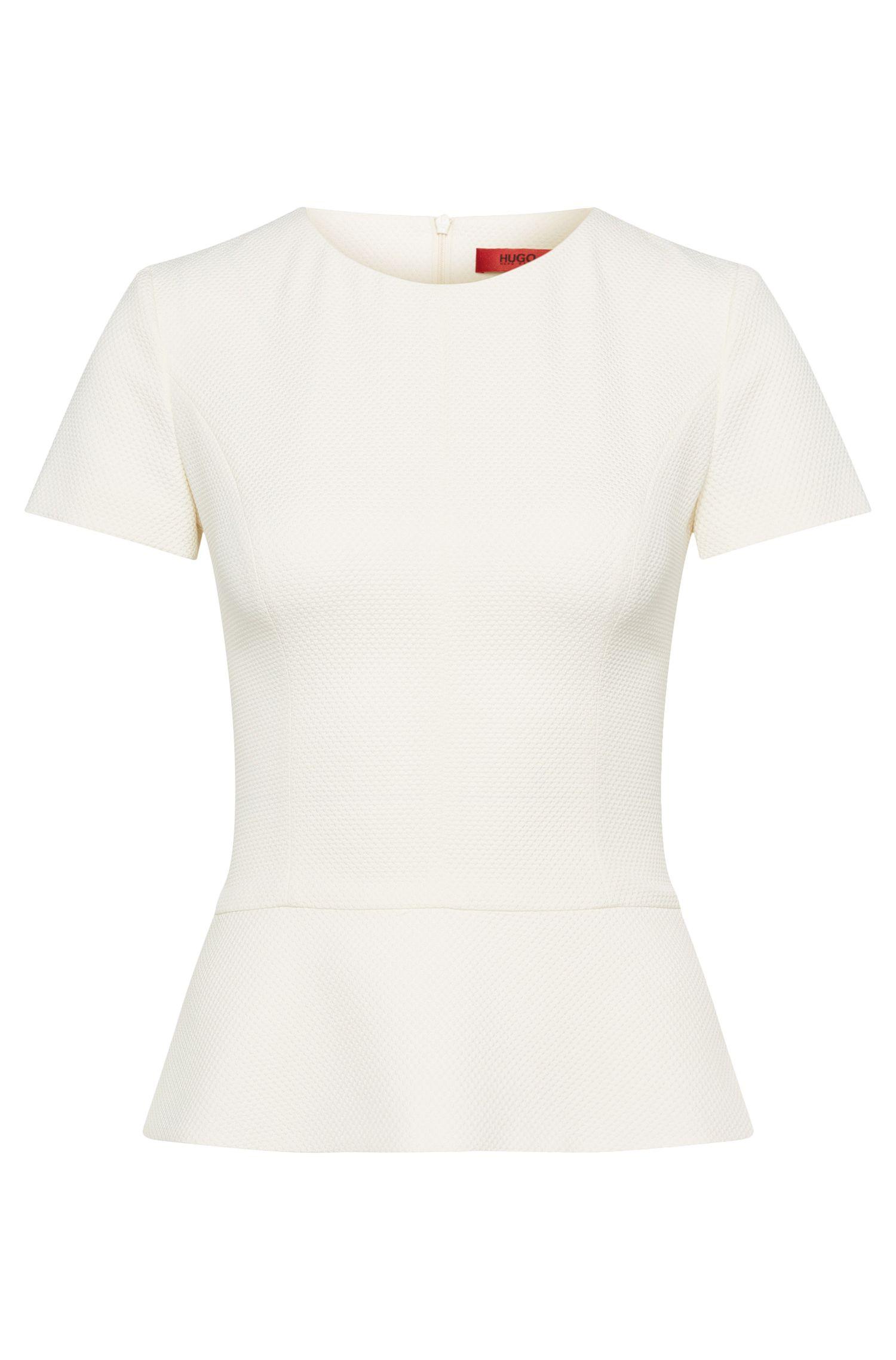 Plain short-sleeved top with peplum: 'Cirstena'