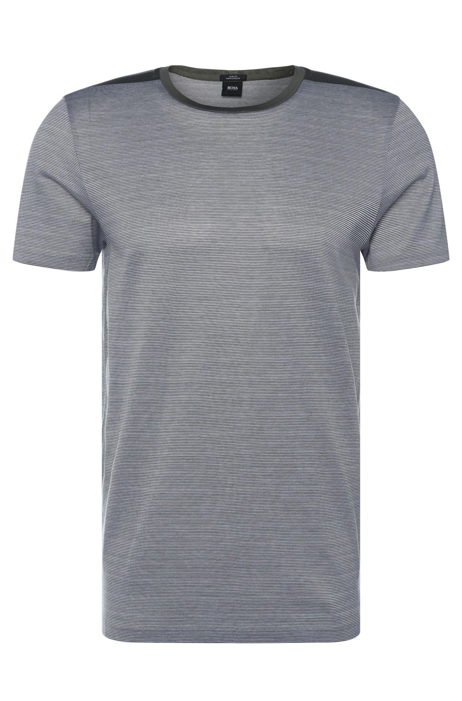Slim-fit T-shirt van katoen met streepdessin: 'Tessler 46'