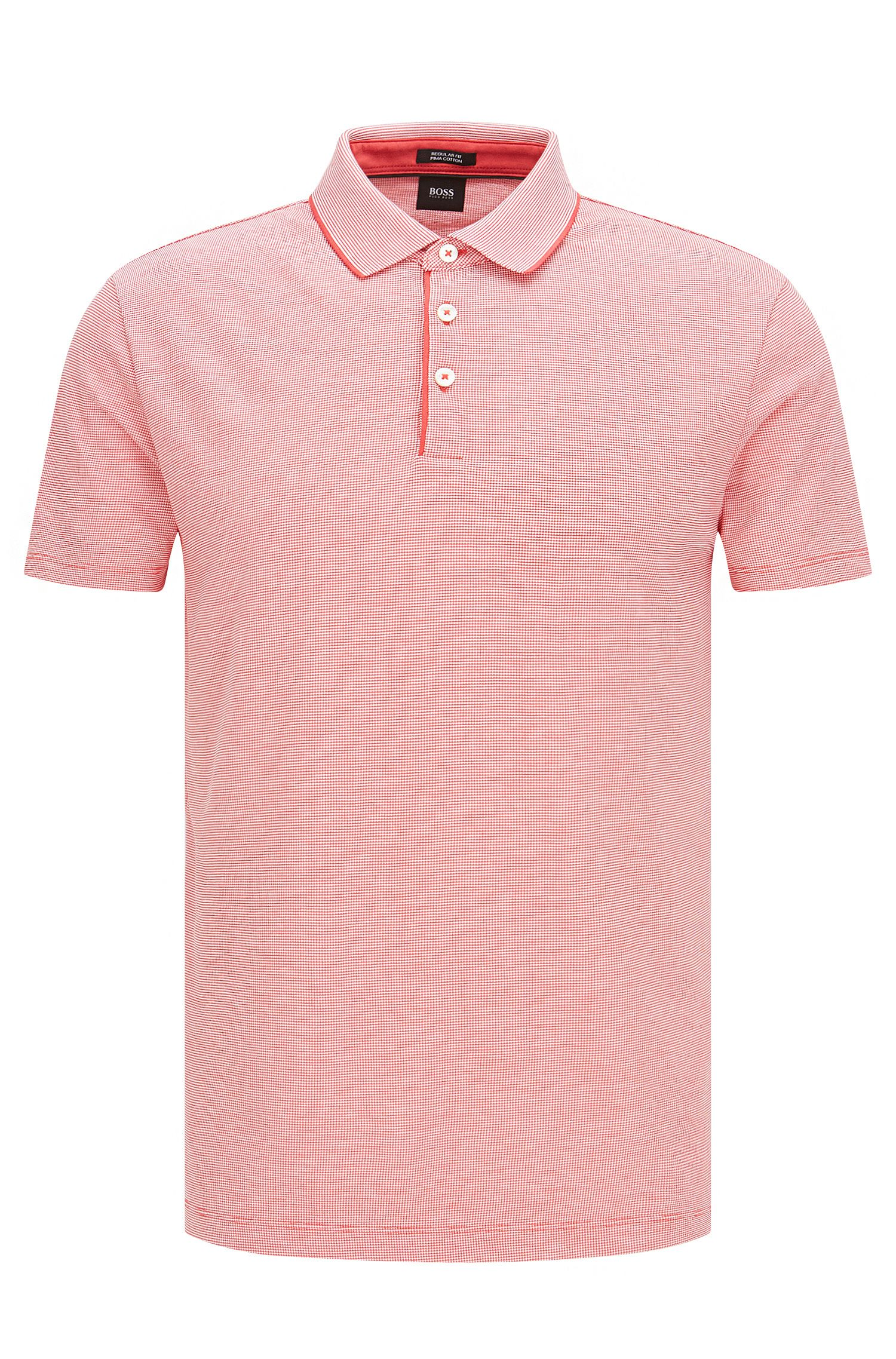 Finely checked regular-fit polo shirt in pima cotton: 'Pack 09'