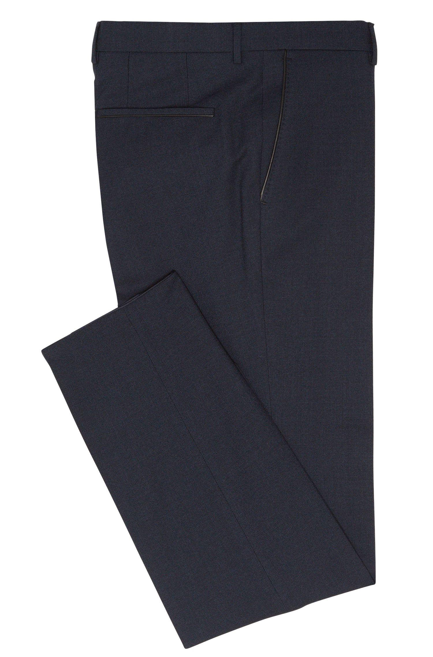 Pantalon Slim Fit en laine vierge mélangée à teneur en coton, à passepoils à effet cuir: «Barao»