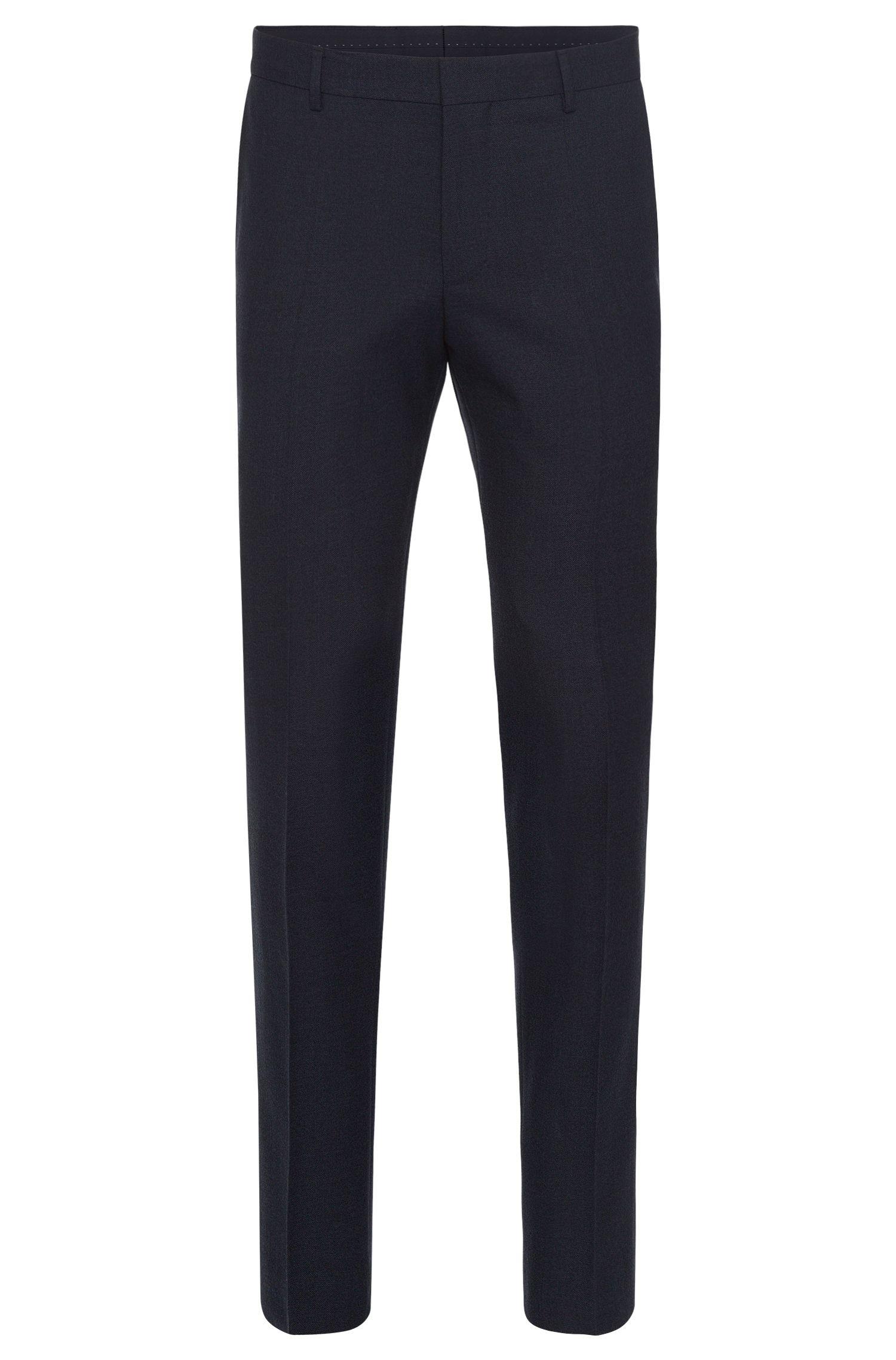 Slim-fit broek van een scheerwolmix met katoen en paspels in leerlook: 'Barao'