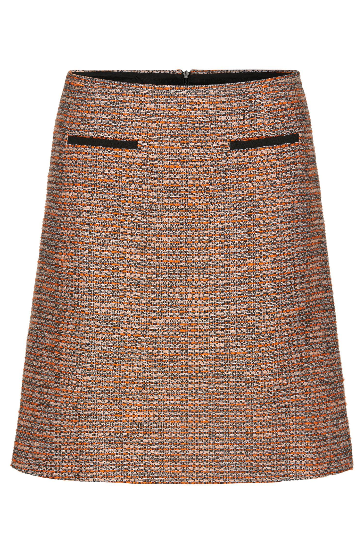 Skirt in a bouclé-look cotton blend: 'Relini-4'