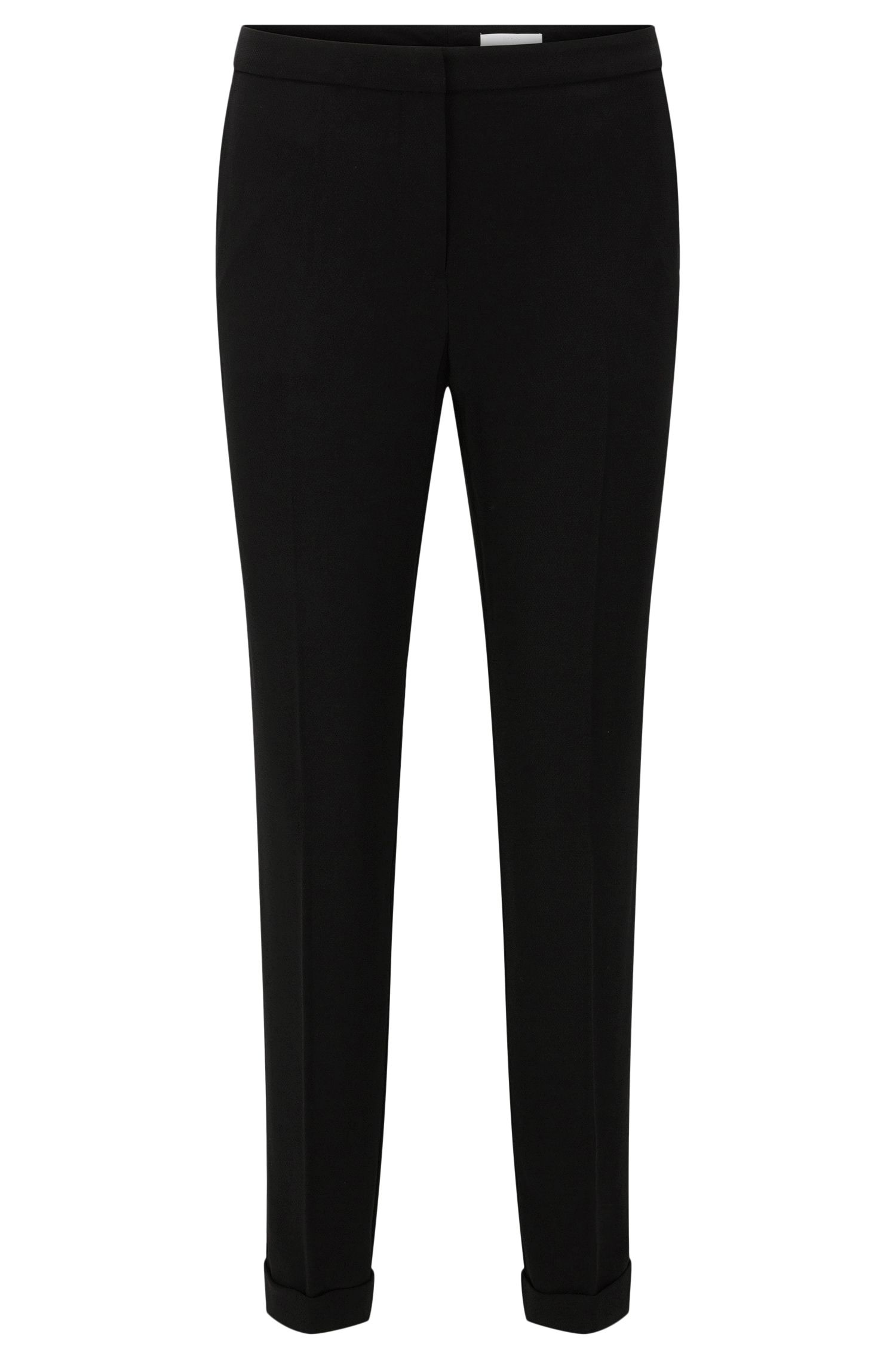 Regular-fit trousers in textured fabric blend with a cropped leg length: 'Alrisa'