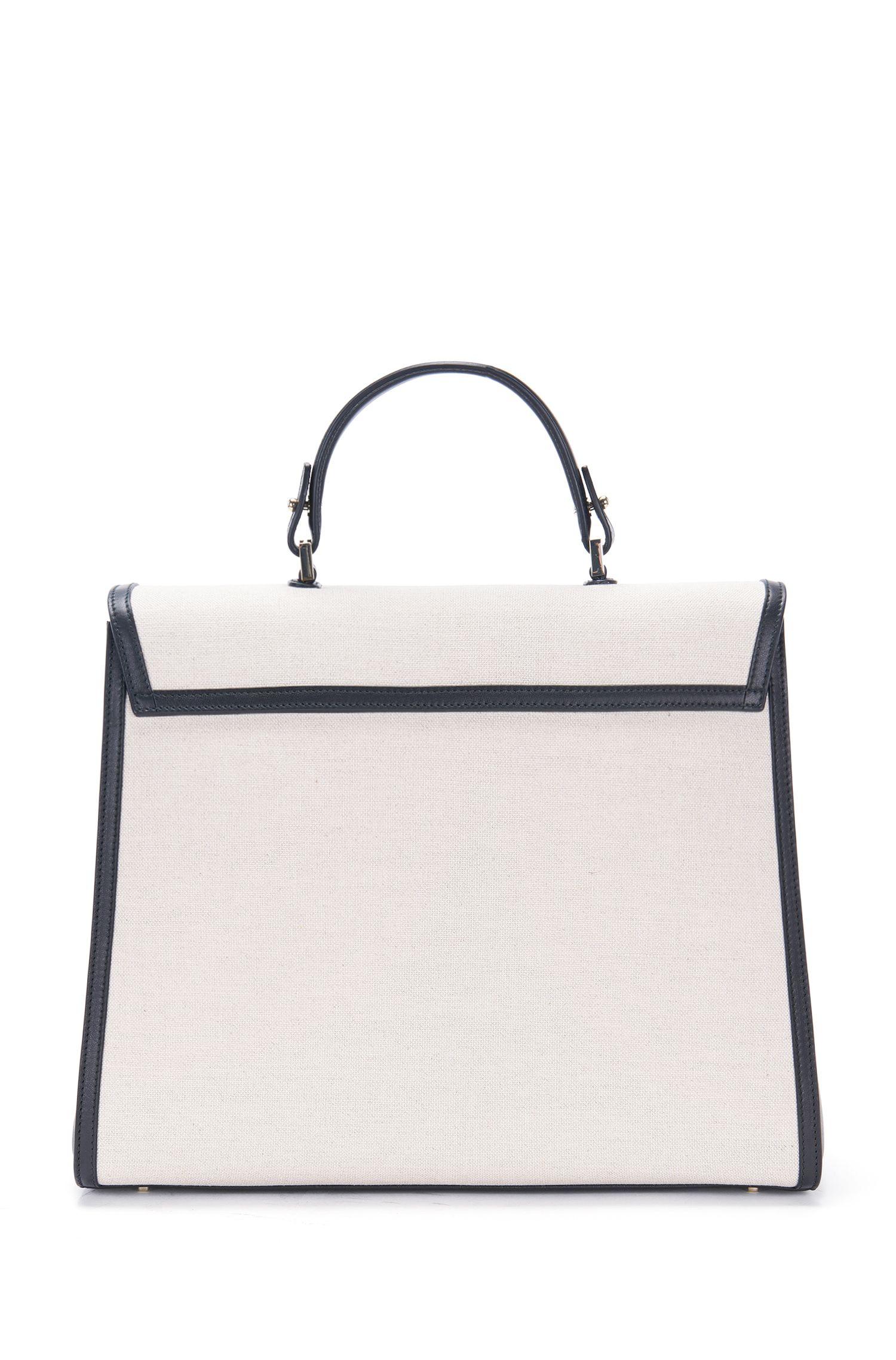 BOSS Bespoke Handtasche aus Leder und Canvas