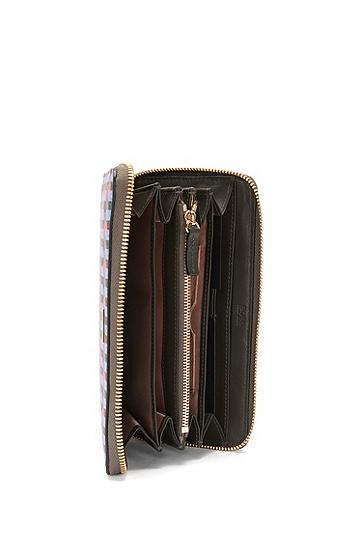 Geldbörse aus Leder mit Grafik-Print: 'Staple Zip Around FP', Gemustert