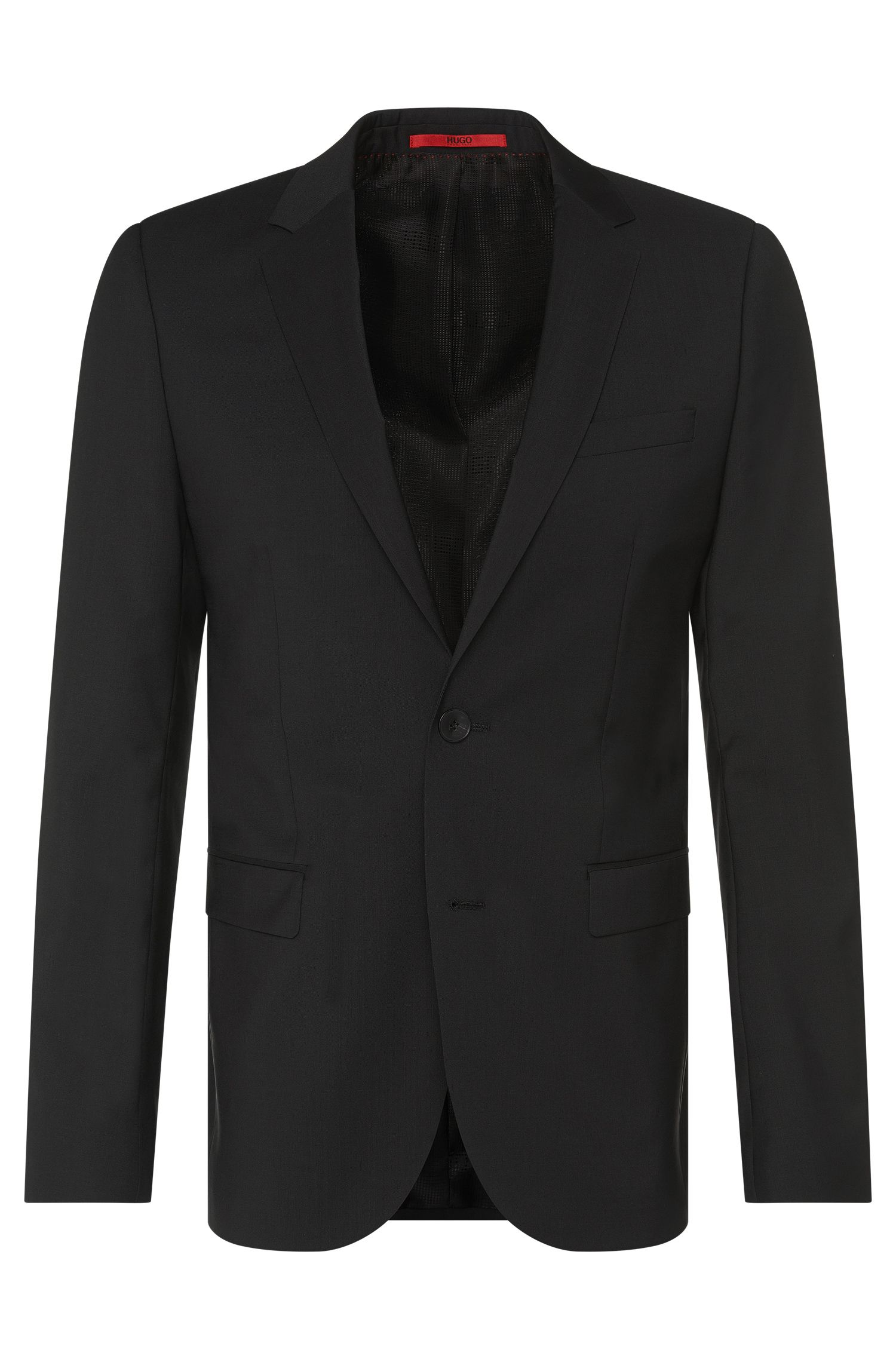 Veste de costume Slim Fit finement structurée en pure laine vierge : « AldonS »