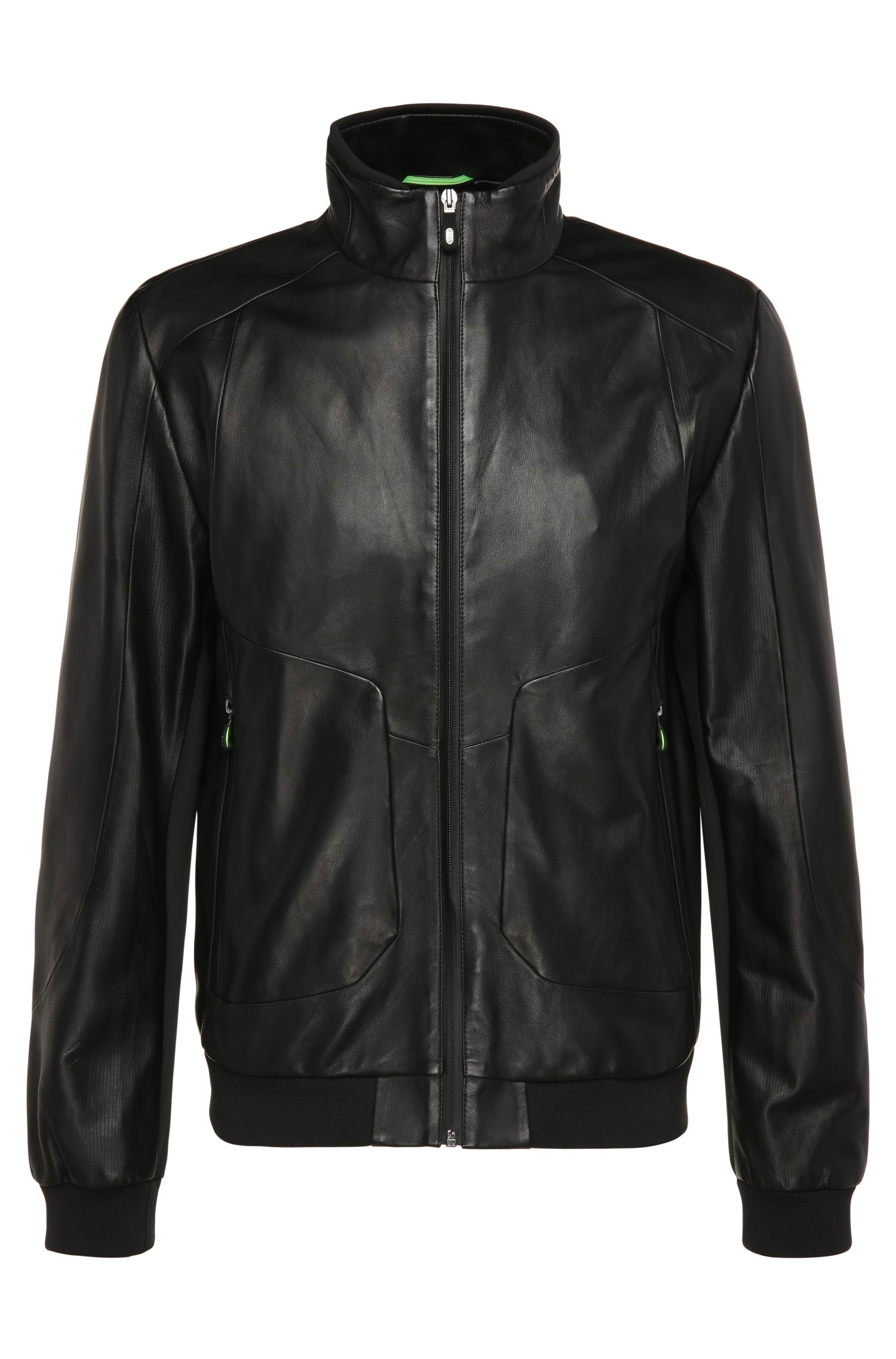 Regular-fit leather jacket with contrasting sections: 'Jesbo'