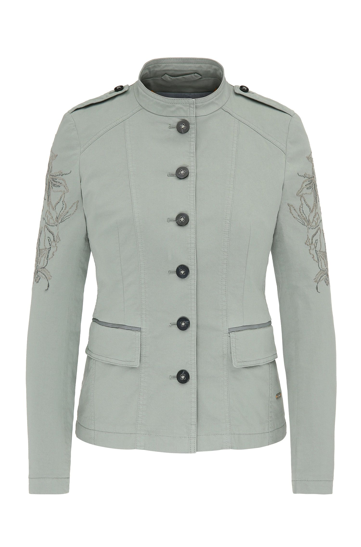 Embroidered military jacket in stretch cotton: 'Obreuny-D'