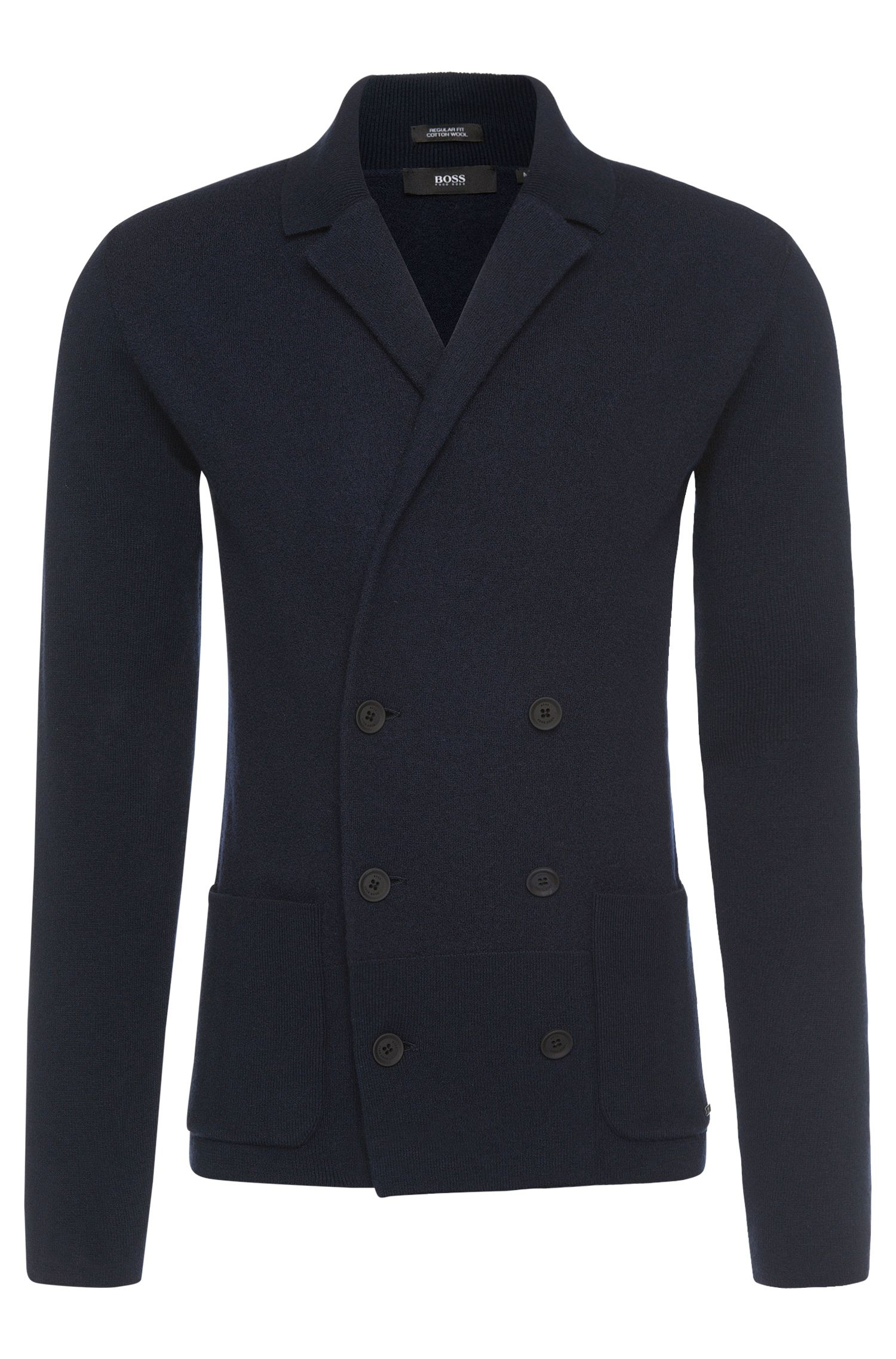 Regular-fit cardigan in new-wool blend with double-breasted button placket: 'Irick'