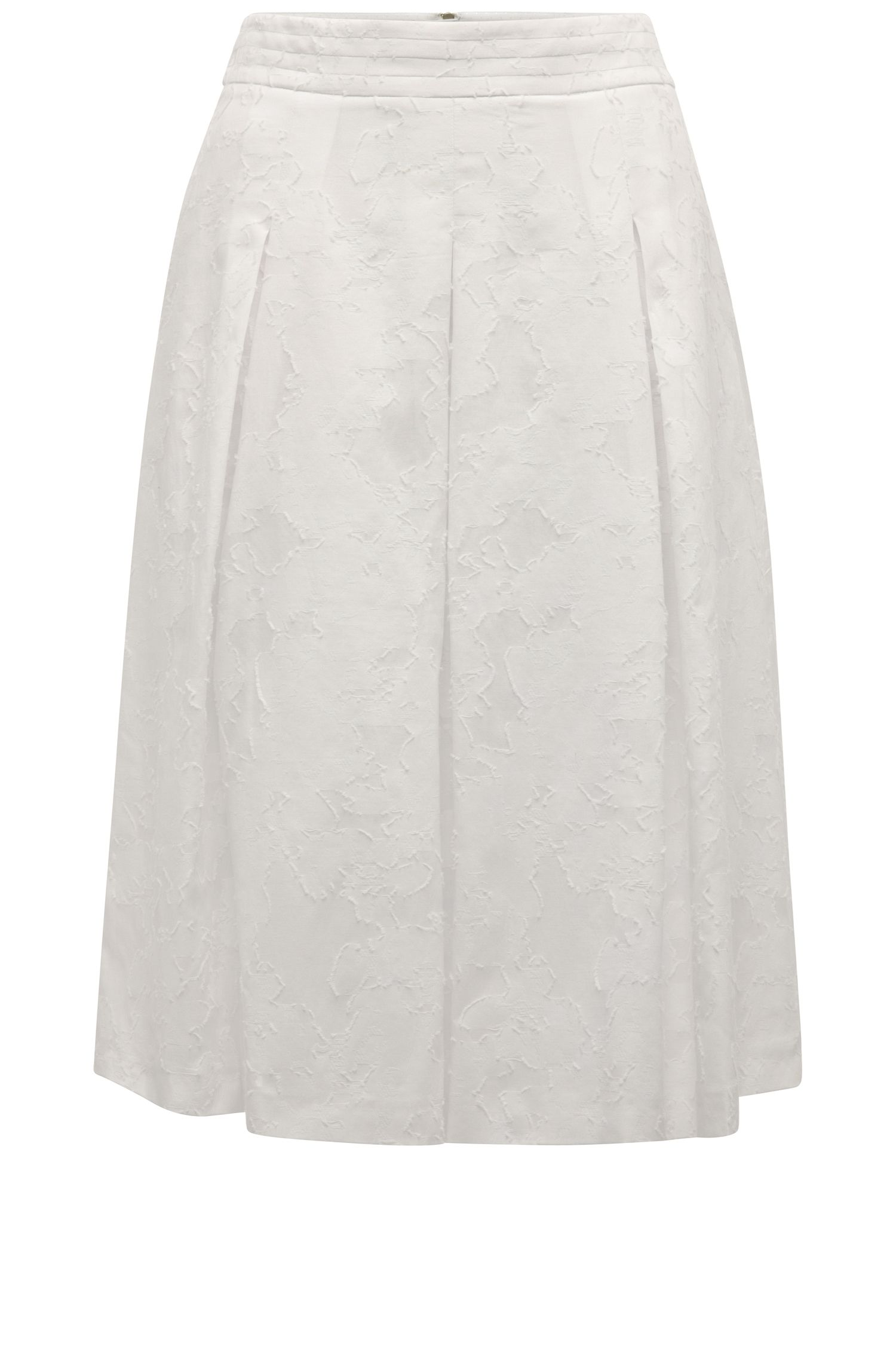 Box pleat skirt with a floral texture in cotton blend with silk: 'Bablumy'