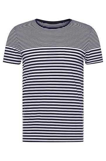 修身版纯棉条纹T恤:'Tessler 48-WS',  402_暗蓝色