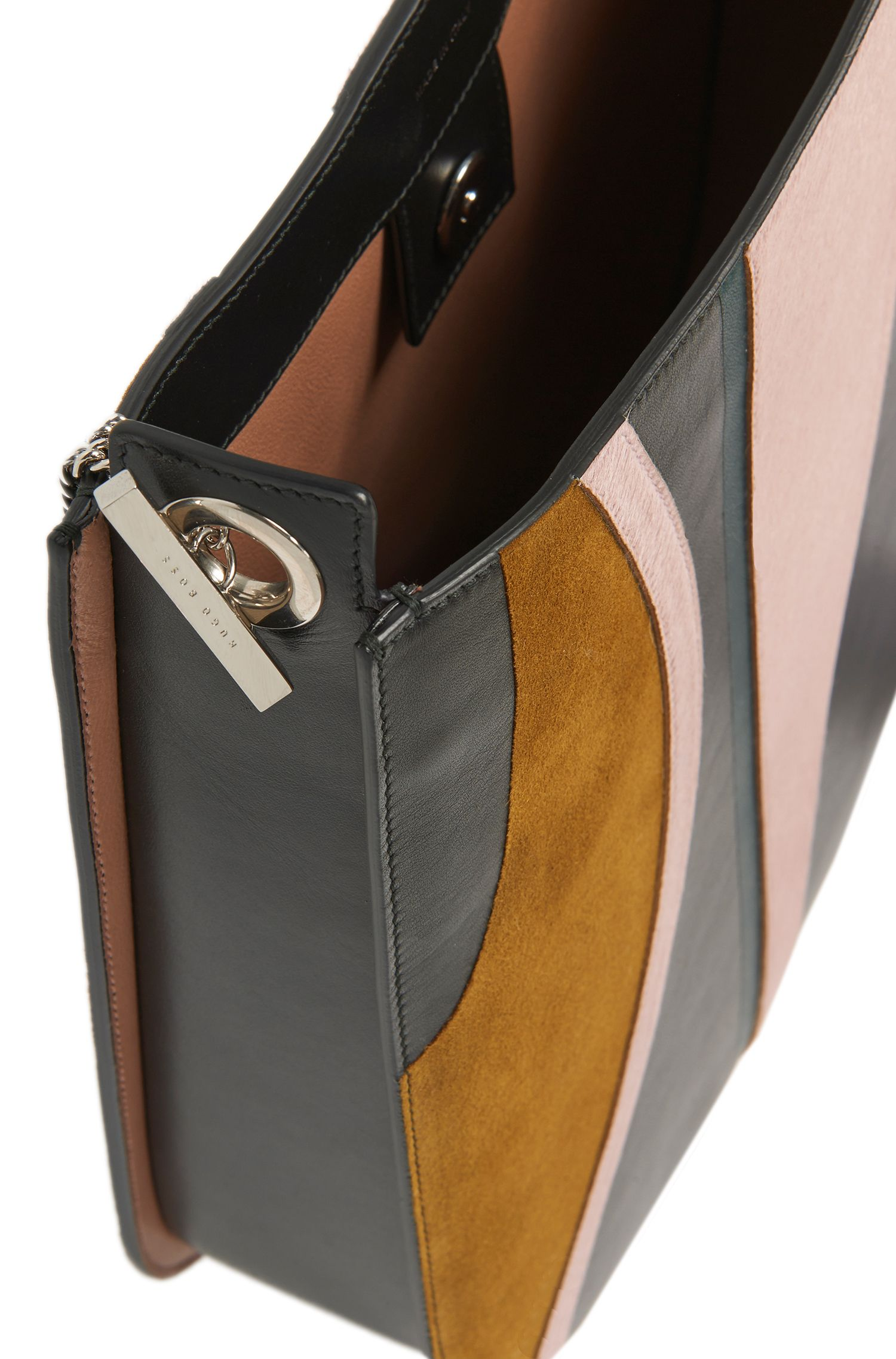 BOSS Bespoke Tasche aus Leder mit Kalbsfell-Besätzen