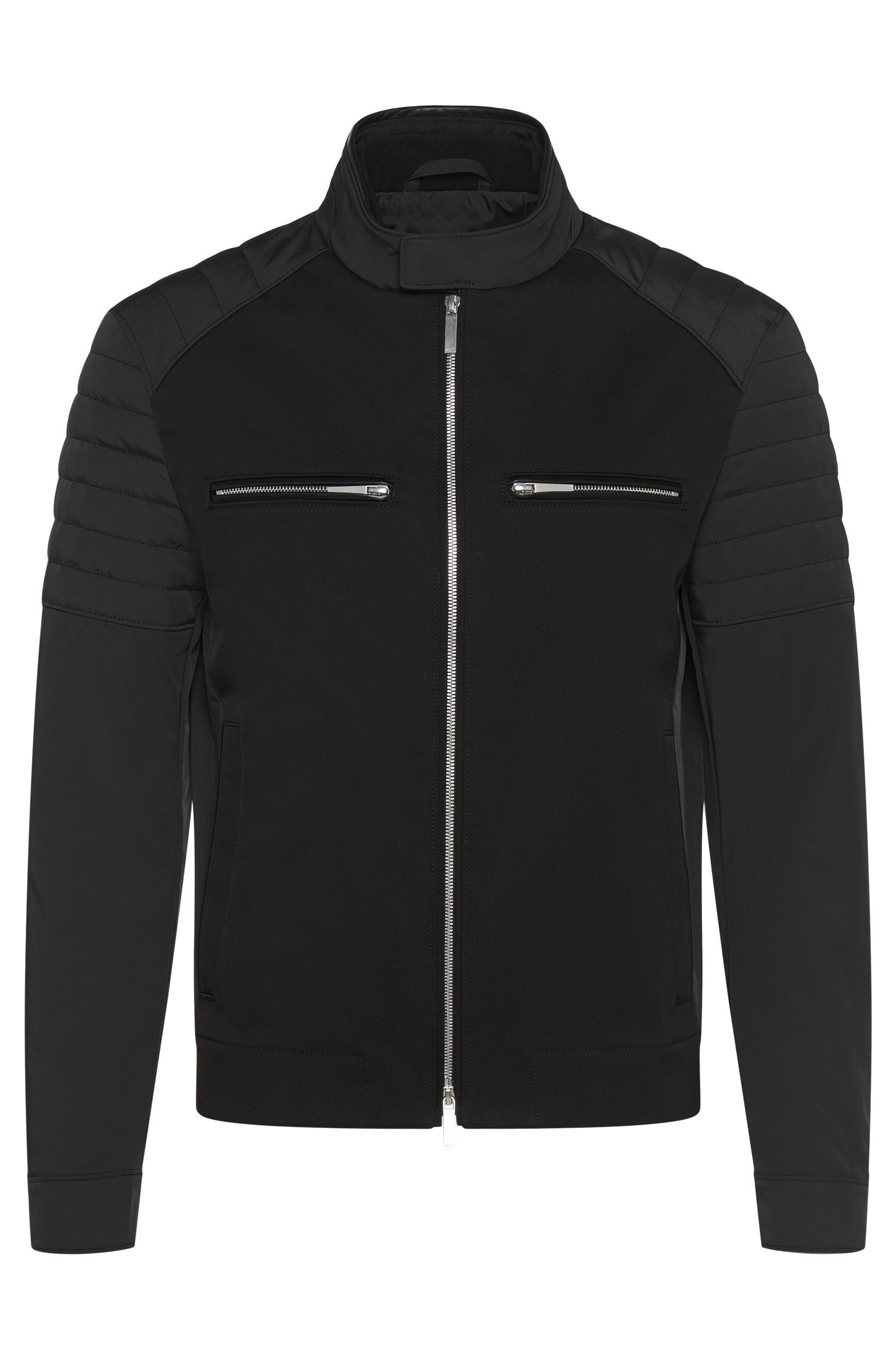 Water-repellent biker jacket with leather detailing: 'Chead1' from the Mercedes-Benz Collection