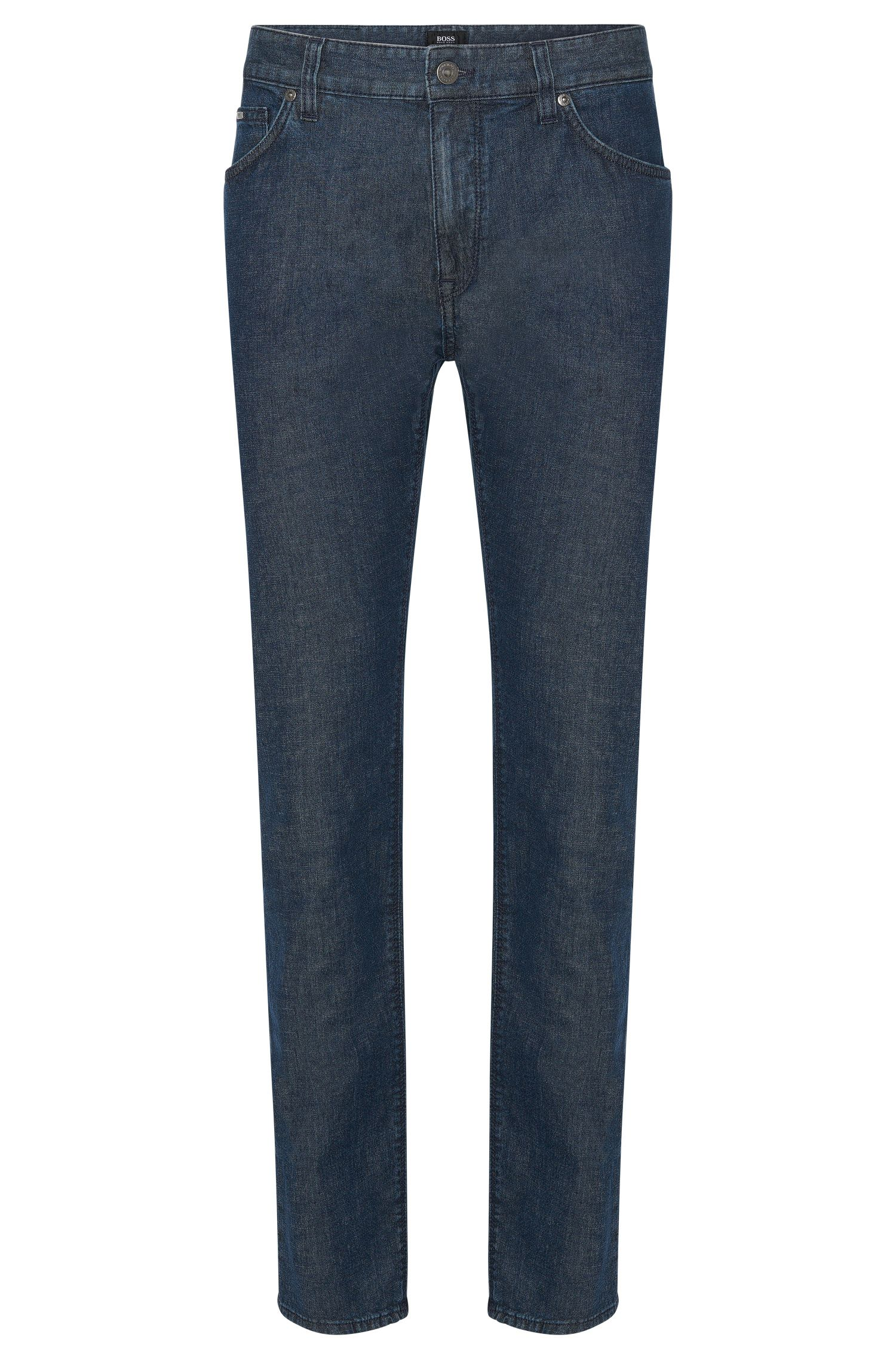 Regular-fit jeans in a stretchy cotton blend with lyocell and linen: 'Maine3'