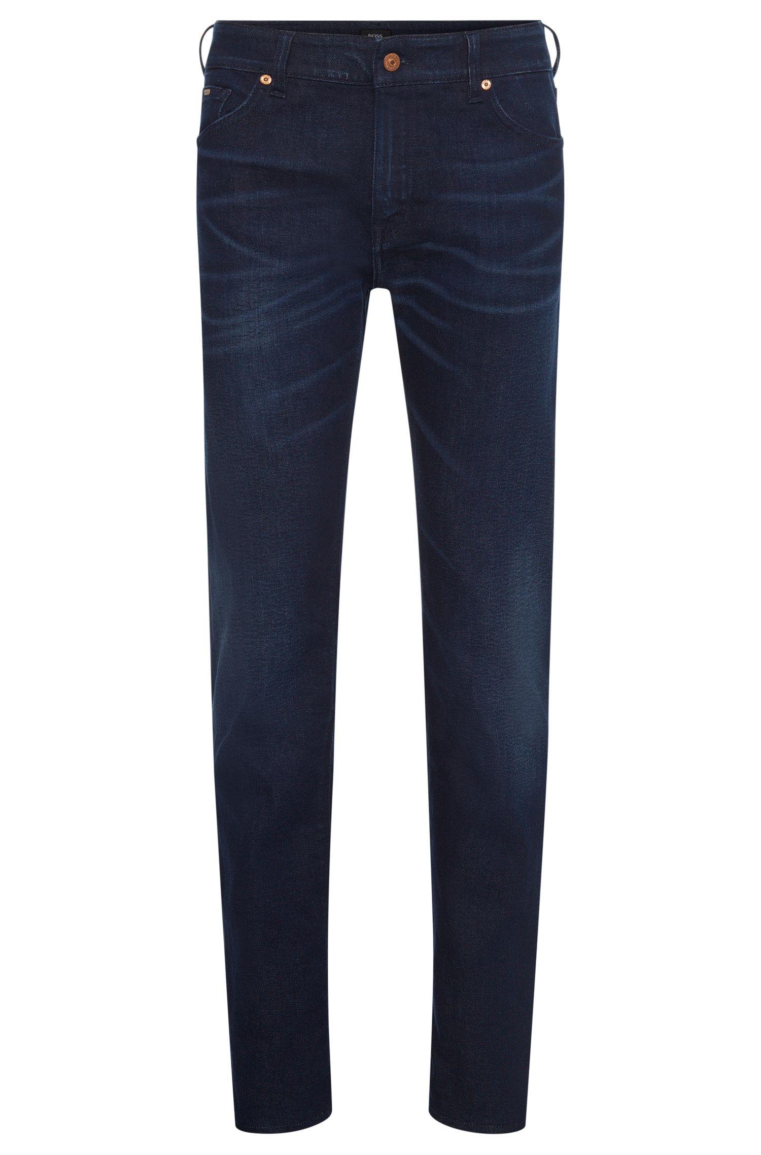 Regular-fit jeans van een elastische katoenmix met used-wassing: 'Maine3'