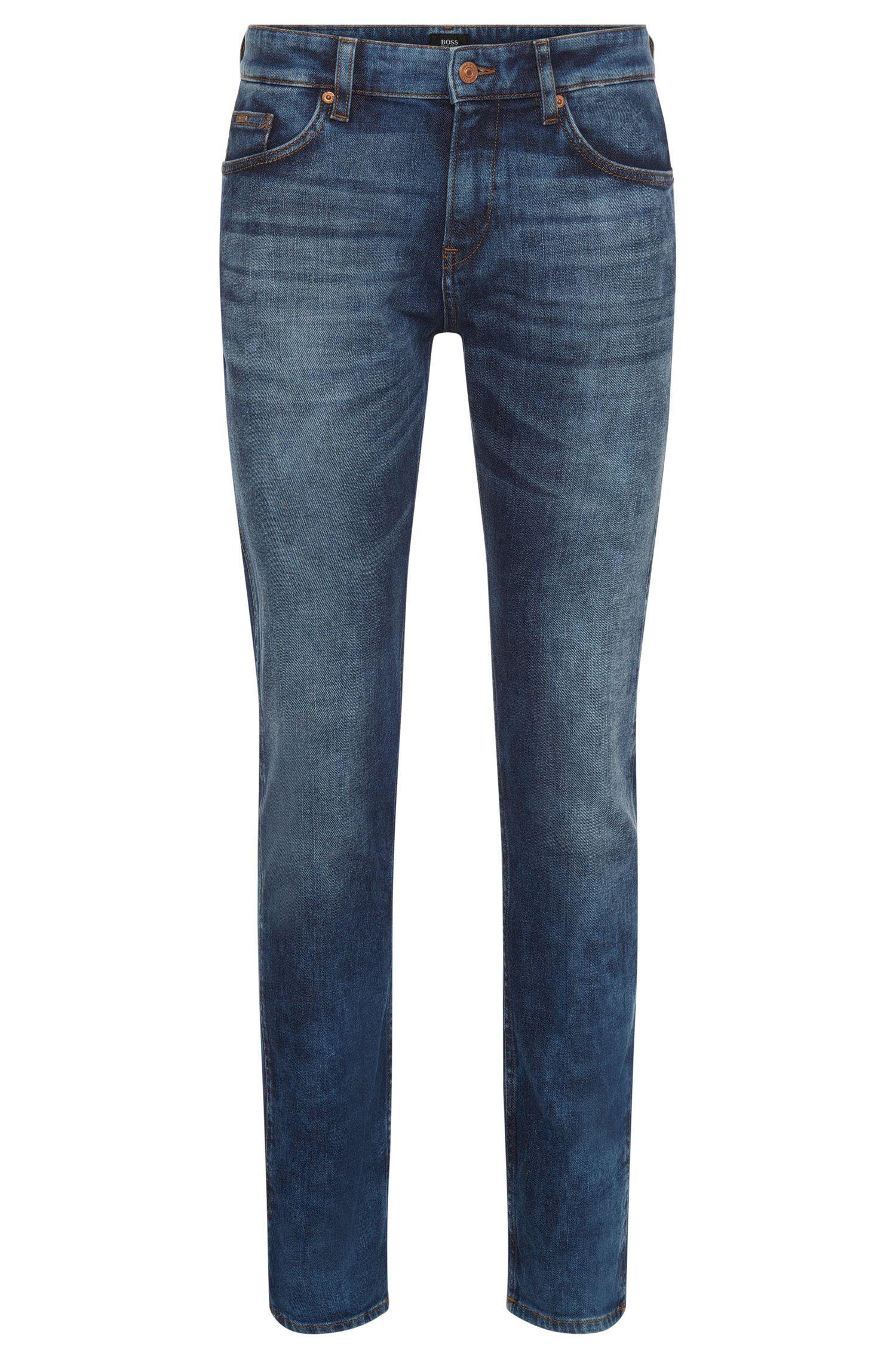 Slim-fit jeans van elastische katoen met subtiele used-wassing: 'Delaware3'