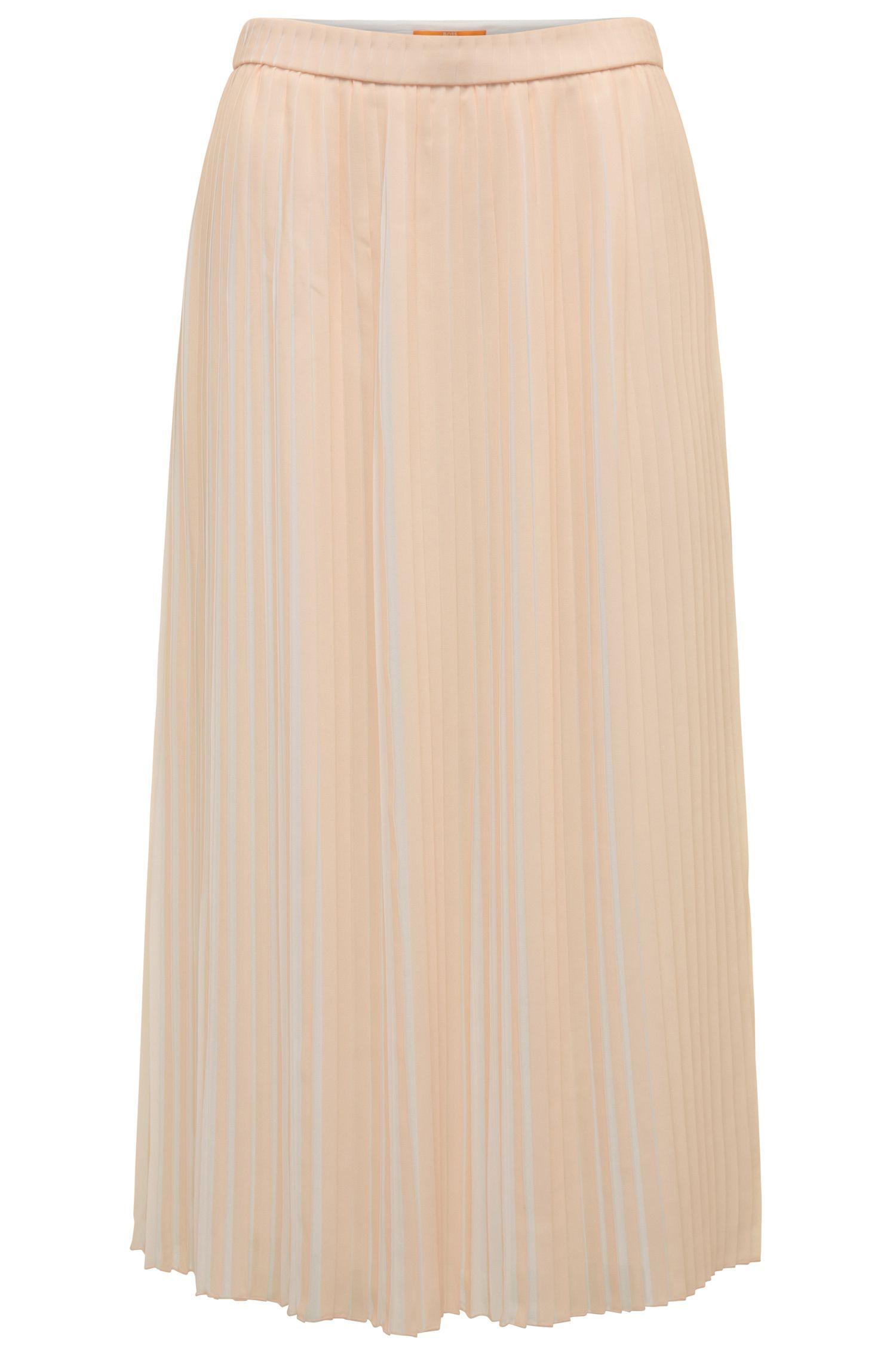 Two-tone midi-length pleated skirt in mixed materials: 'Baplissa'