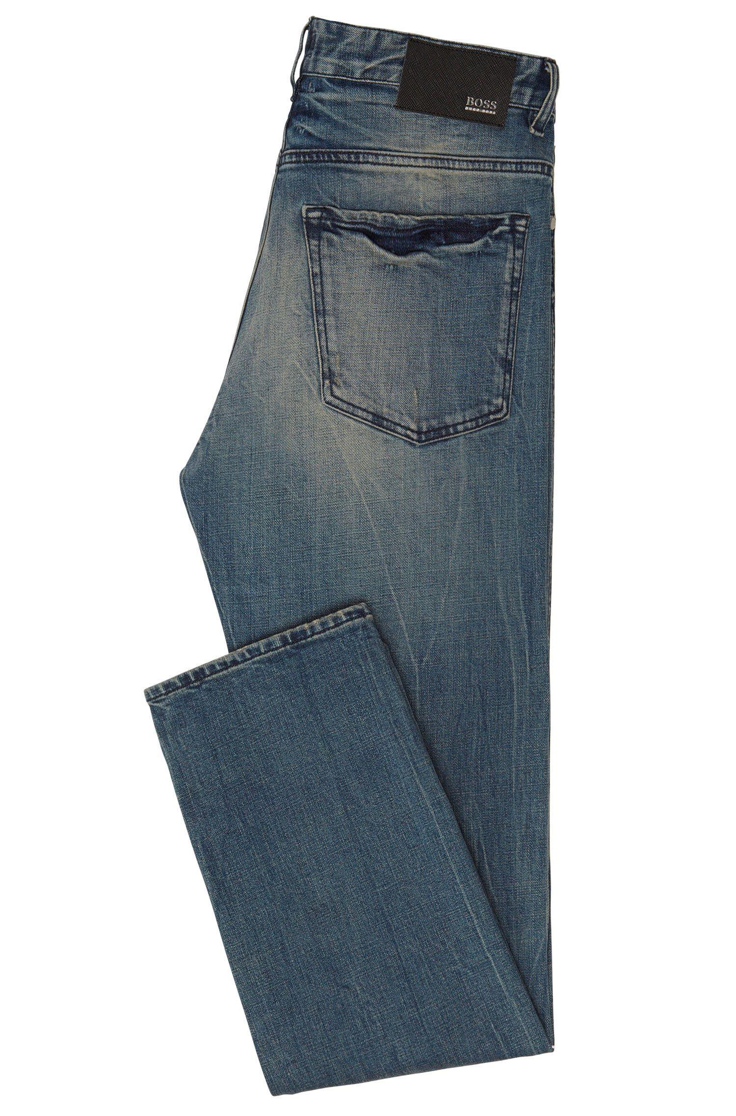 Jeans Slim Fit en coton stretch à effets usés: «Delaware3»