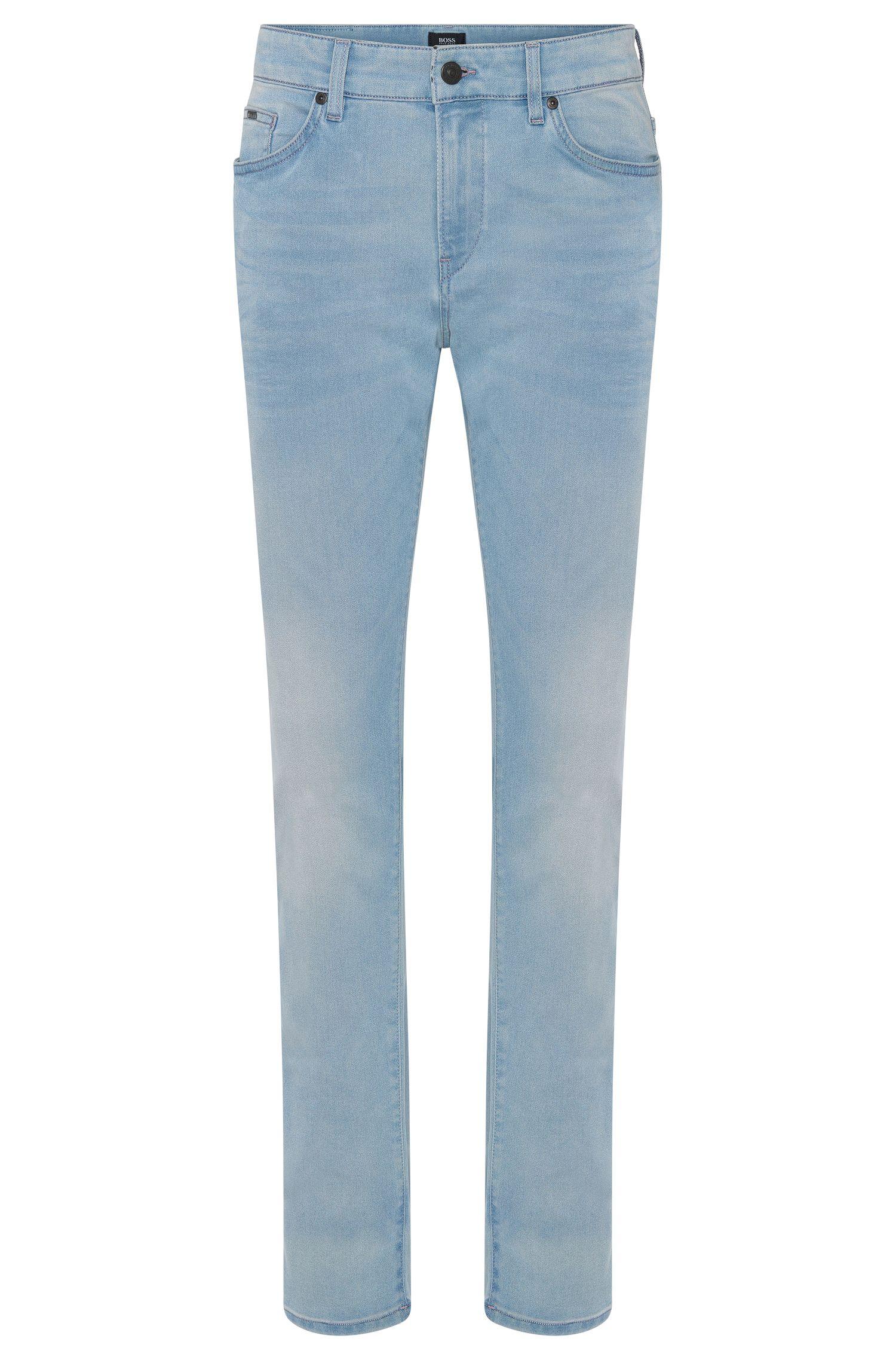 Jeans Slim Fit en coton mélangé aux discrets effets délavés et usés: «Delaware3-1»