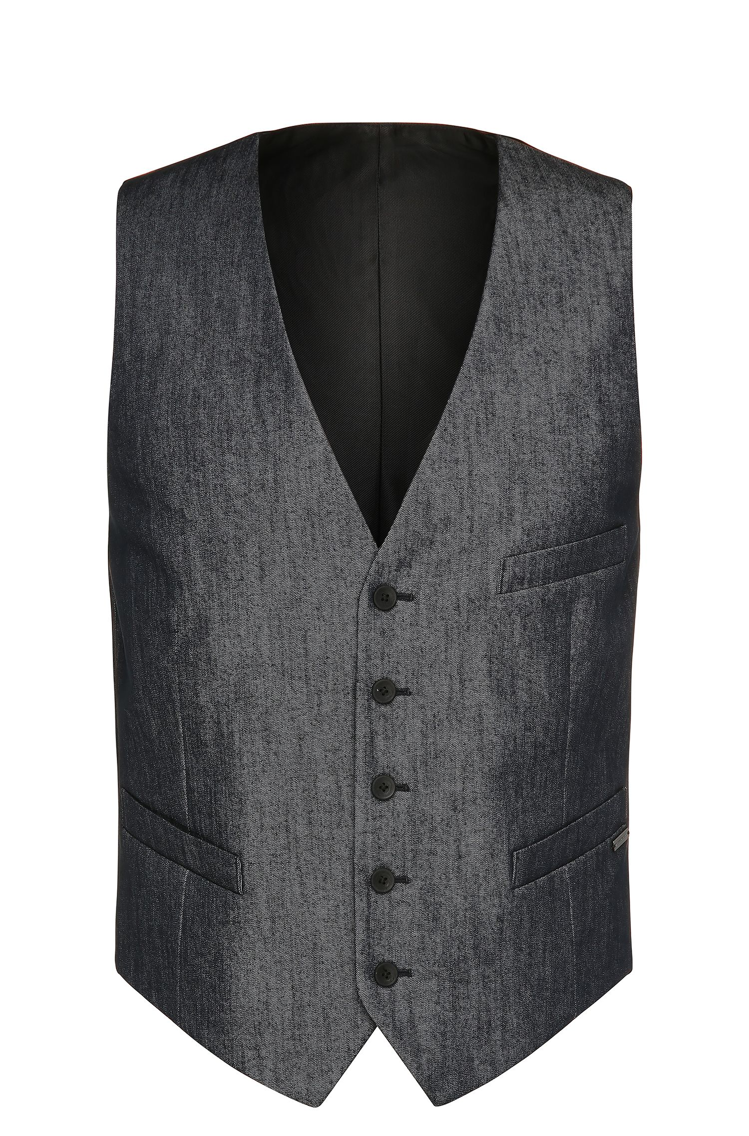 Slim-fit waistcoat in stretchy cotton blend: 'Bacer2'