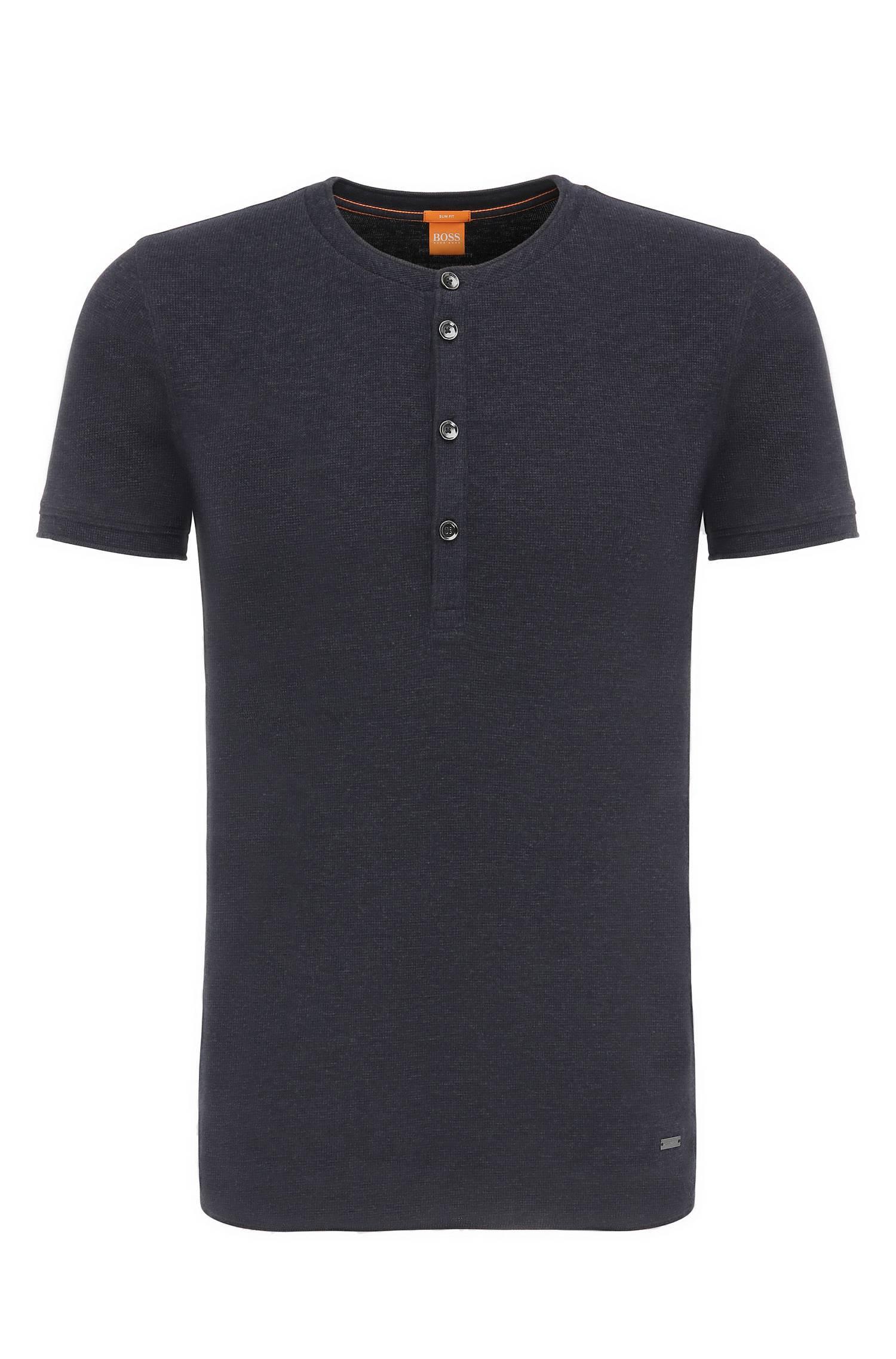 Slimfit Henley shirt in cotton `Topside`