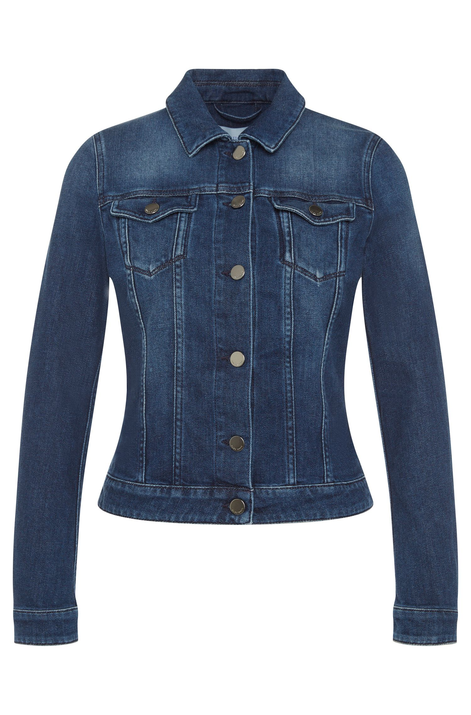 Straight-cut jeans jacket in stretch cotton: 'Norie'