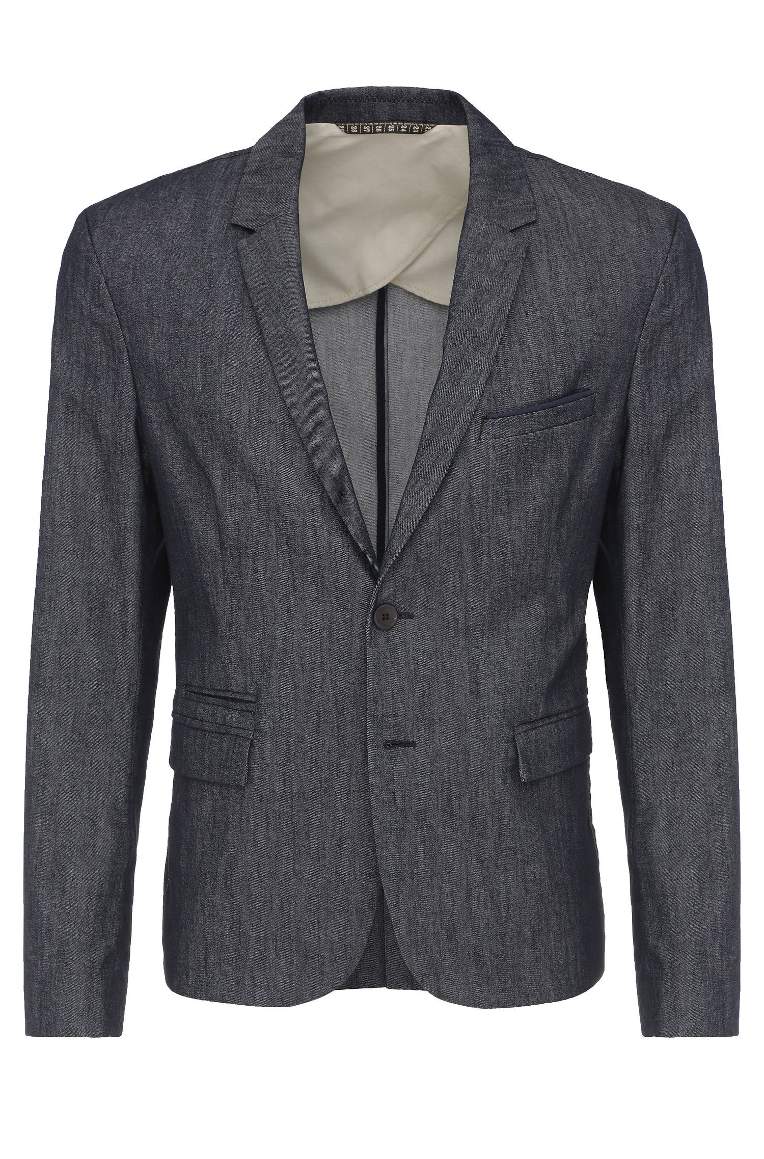 Slim-fit blazer in material blend with pocket square: 'Bait'