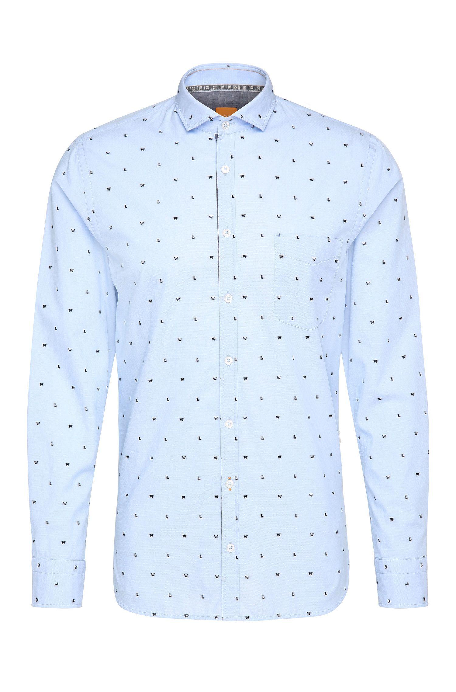 Camisa slim fit estampada en algodón de jacquard: 'Cattitude'