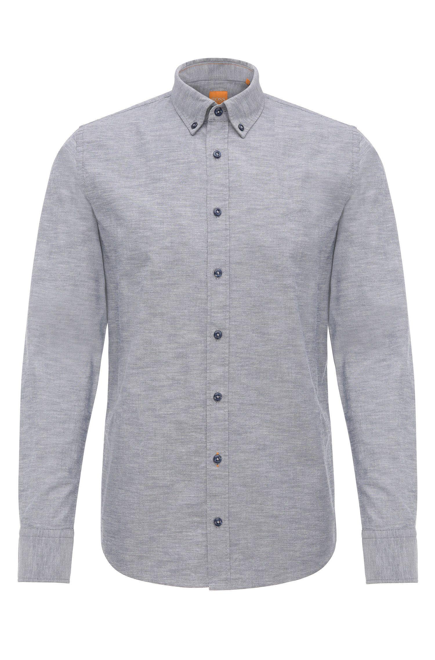 Mottled slim-fit shirt in cotton: 'Epreppy'