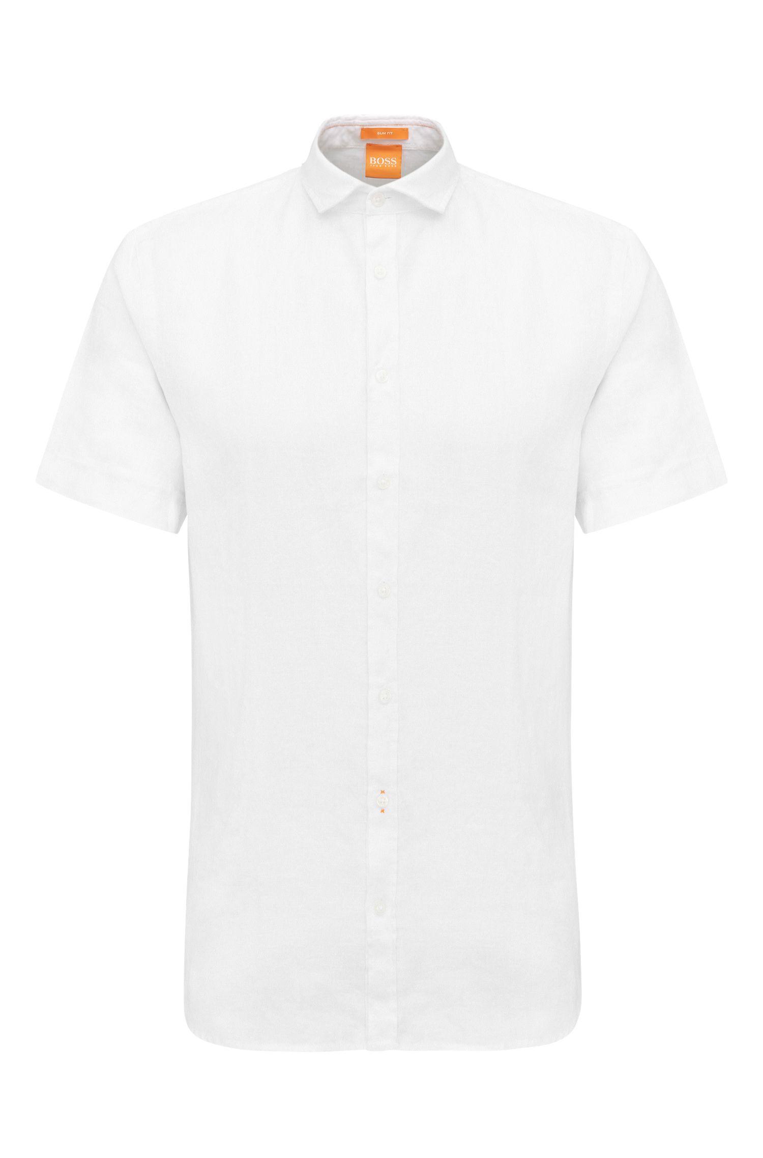 Slim-fit short-sleeved shirt in textured linen: 'Cattitude-short'