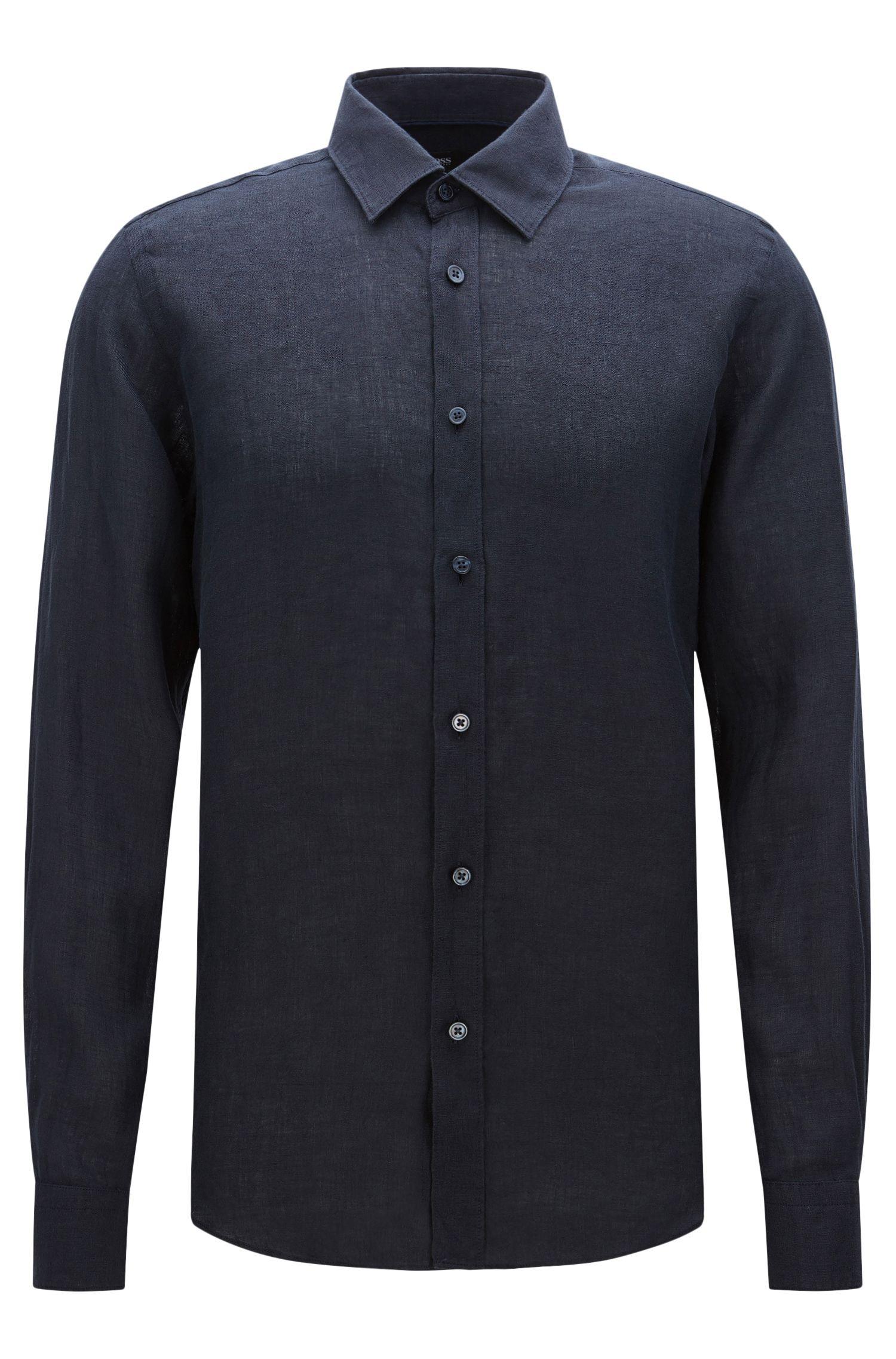 Plain regular-fit shirt in linen: 'Lukas'