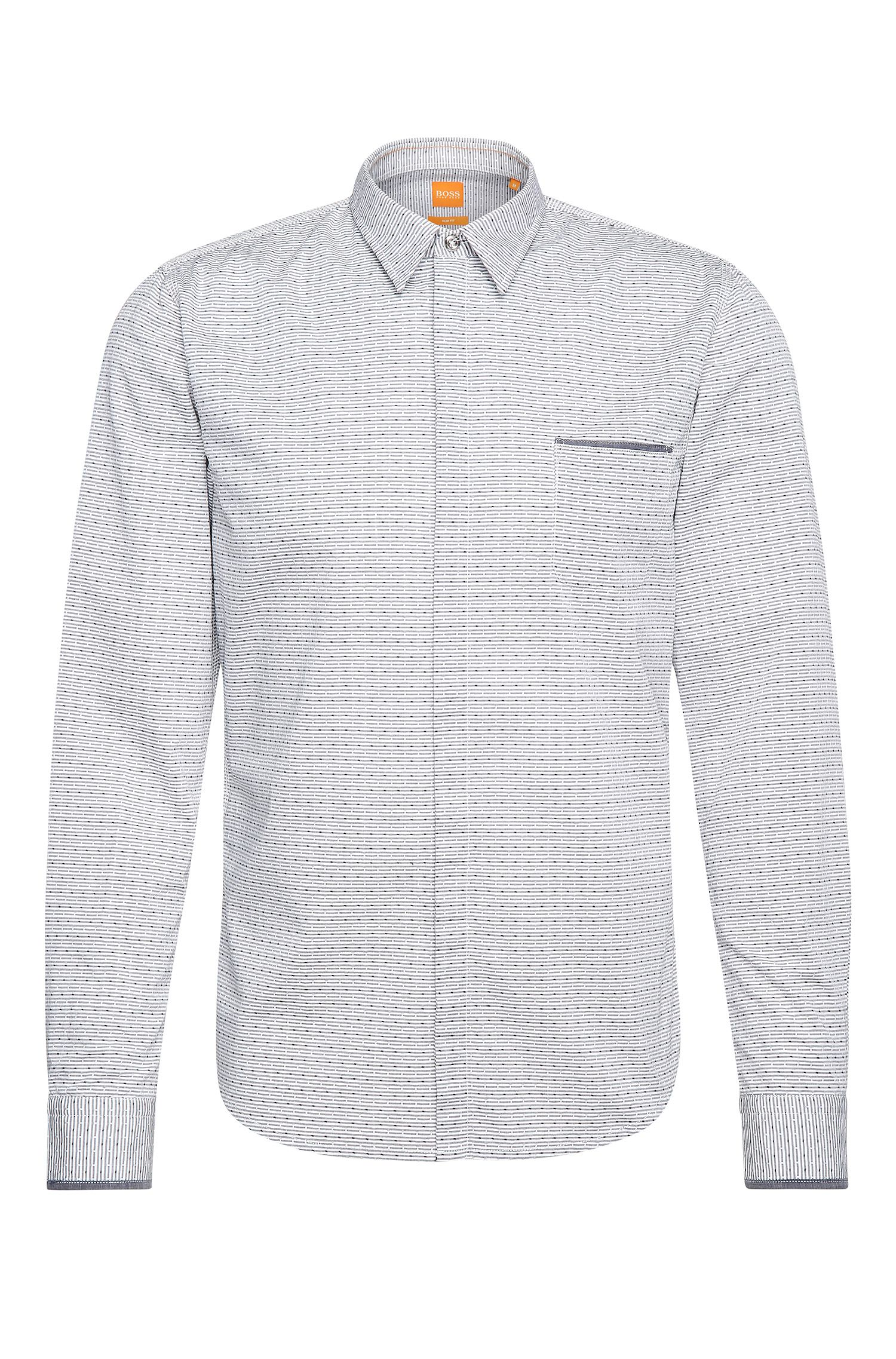 Slim-fit shirt in cotton with print: 'Eclash'
