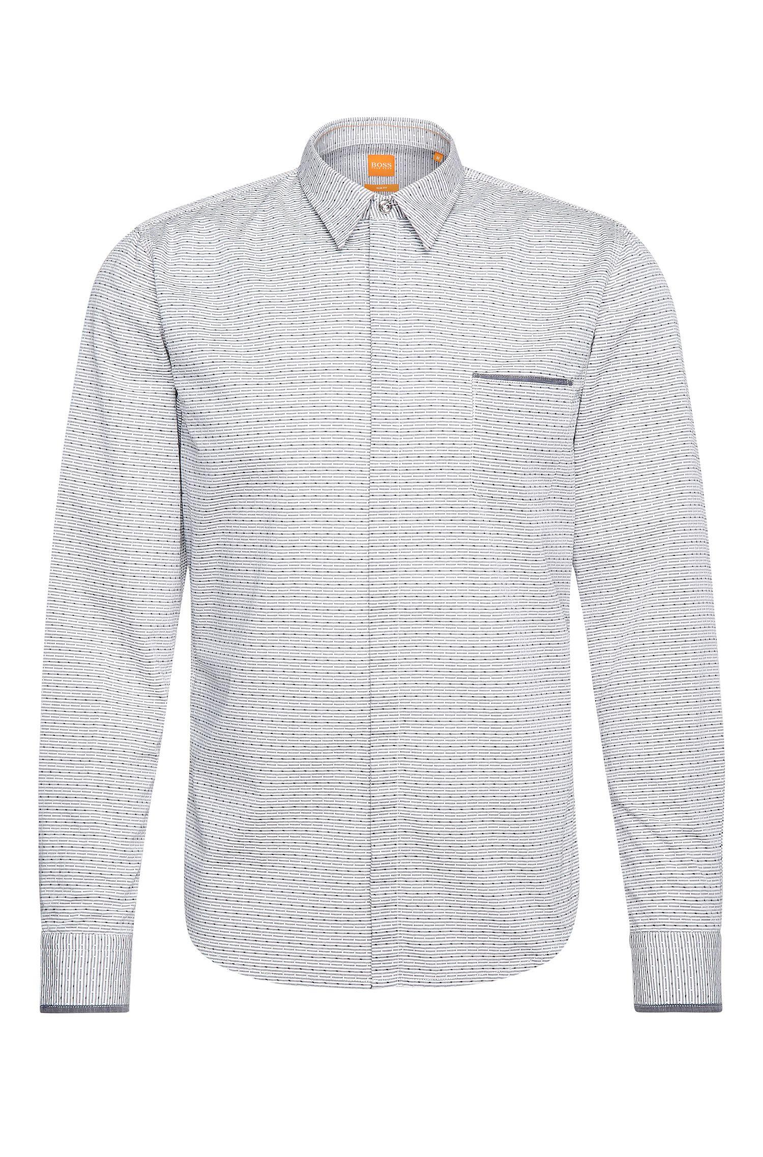 Slim-fit overhemd van katoen met print: 'Eclash'