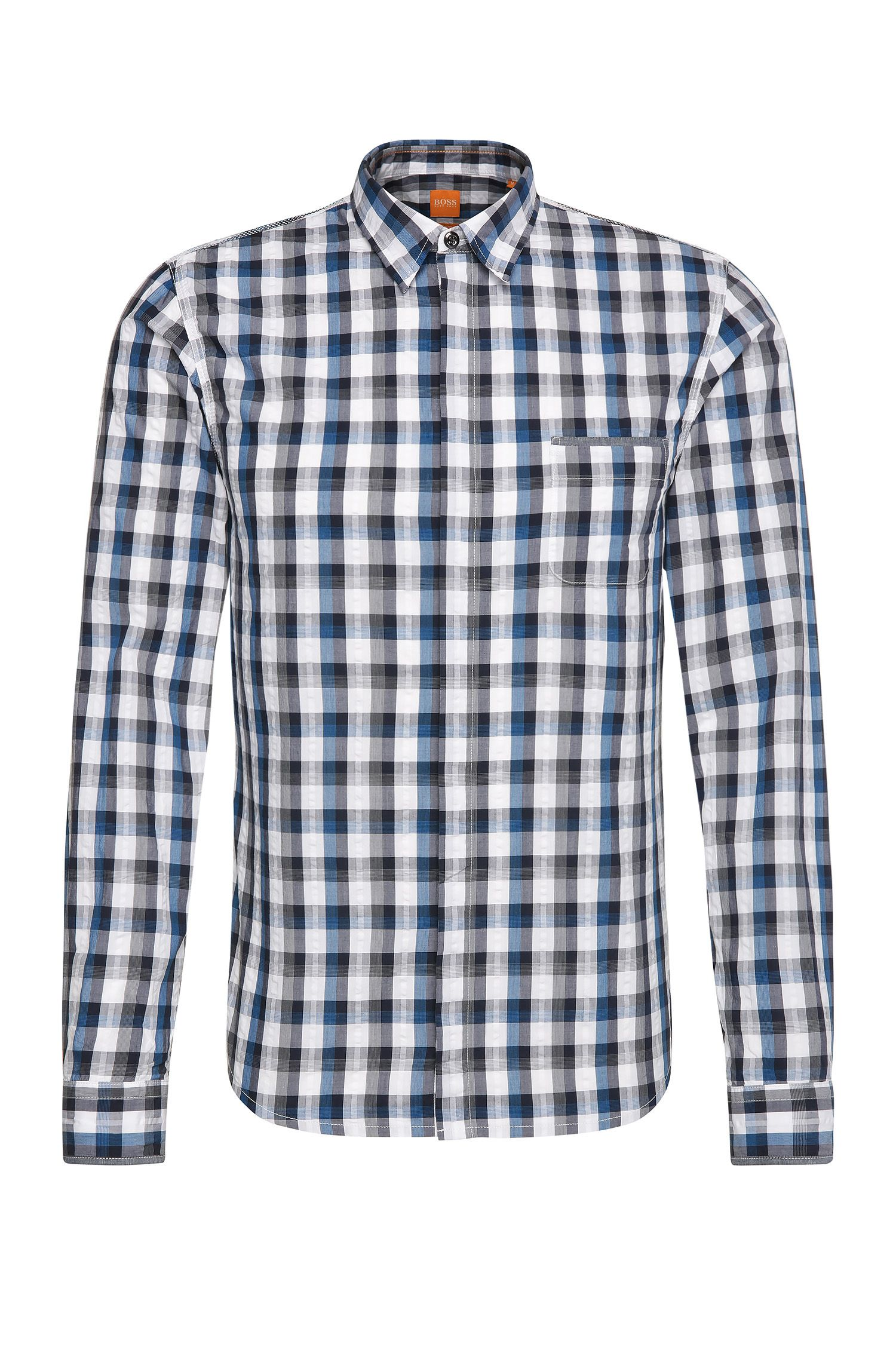 Checked slim-fit shirt in cotton: 'Eclash'