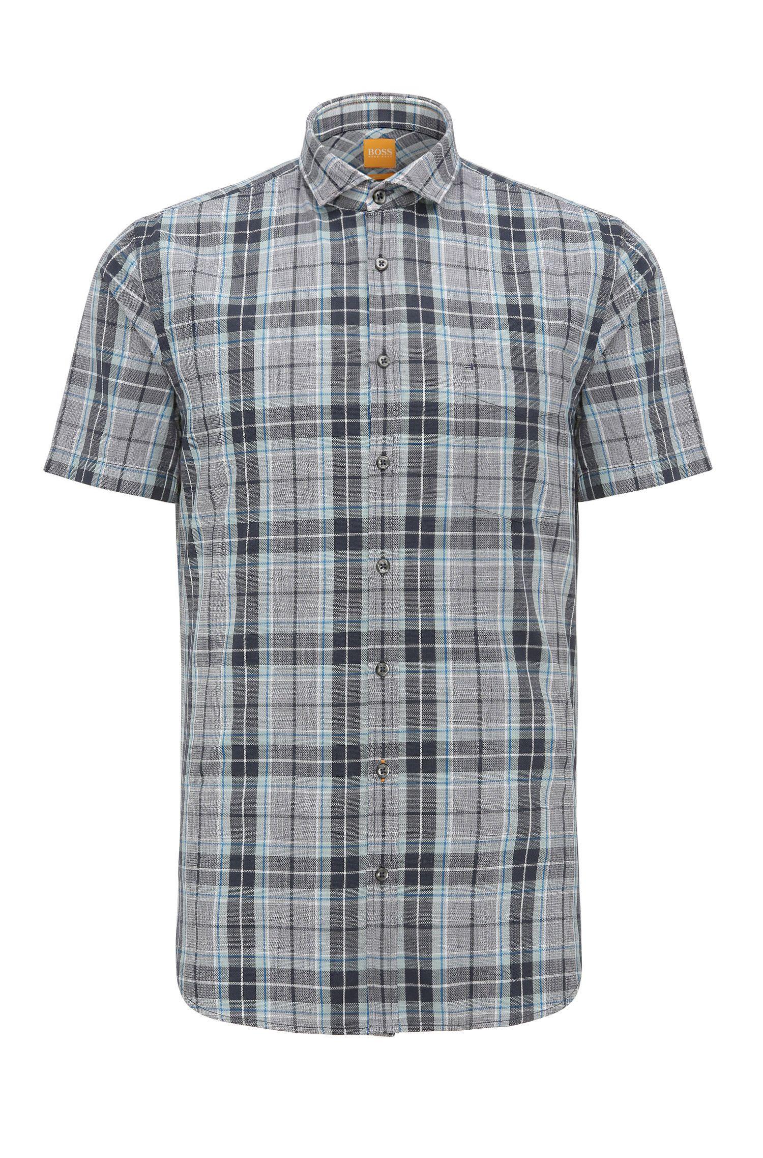 Chemise en coton Slim Fit à carreaux, à manches courtes: «Cattitude-short»