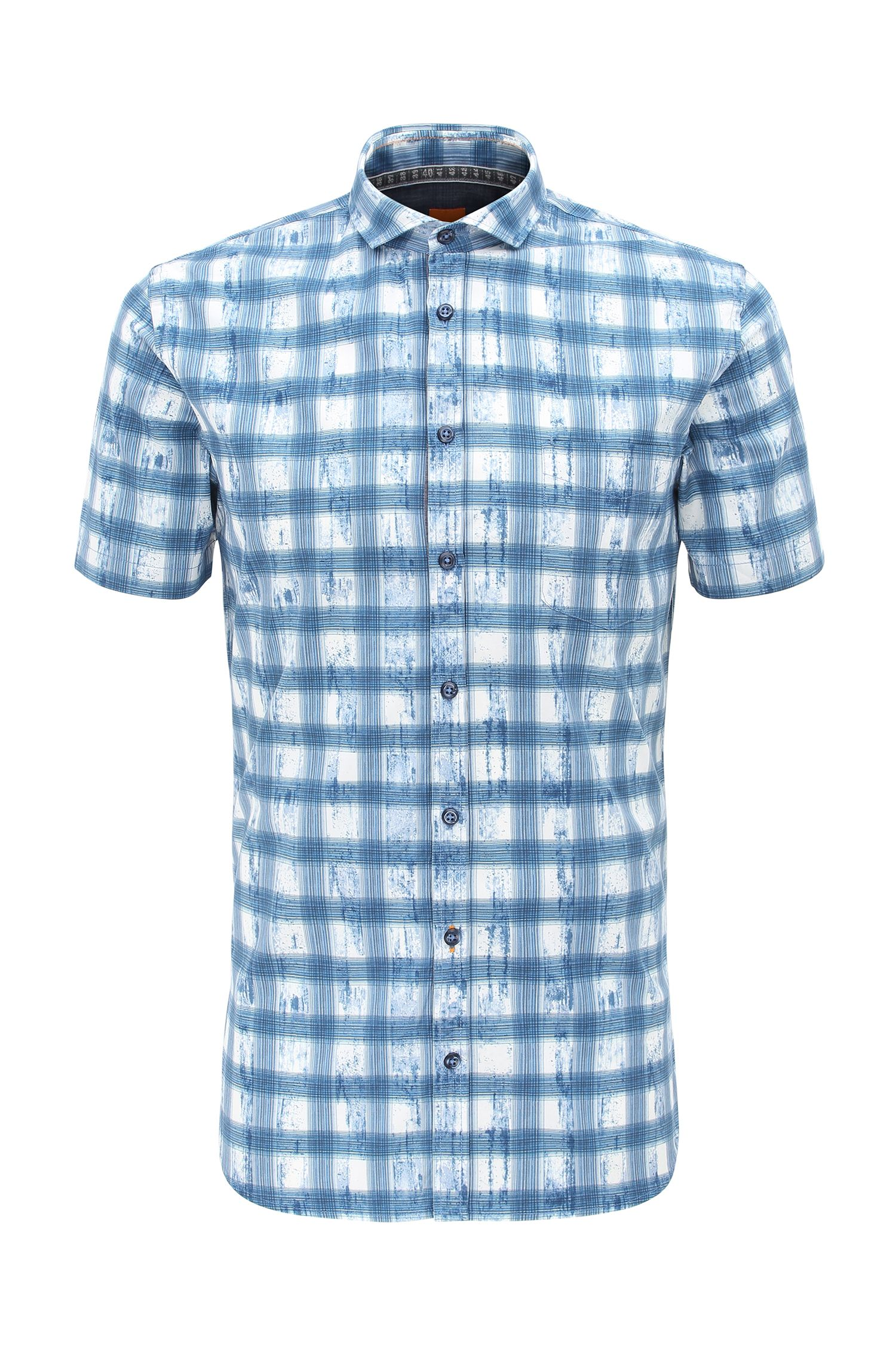 Checked slim-fit short-sleeved shirt in pure cotton: 'Cattitude-short'