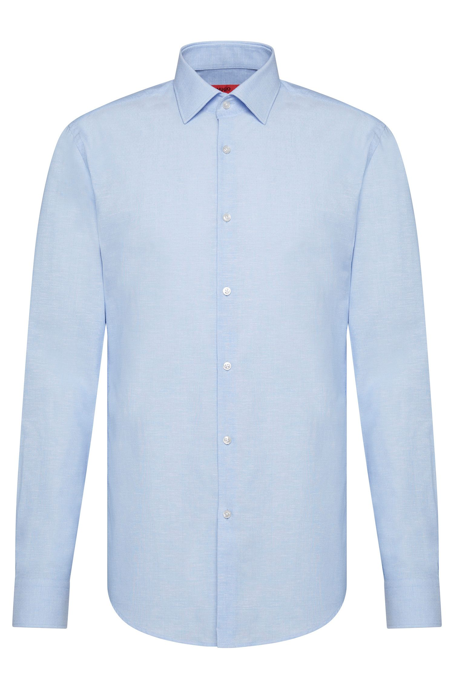 Subtly patterned slim-fit shirt in cotton blend: 'C-Jenno'