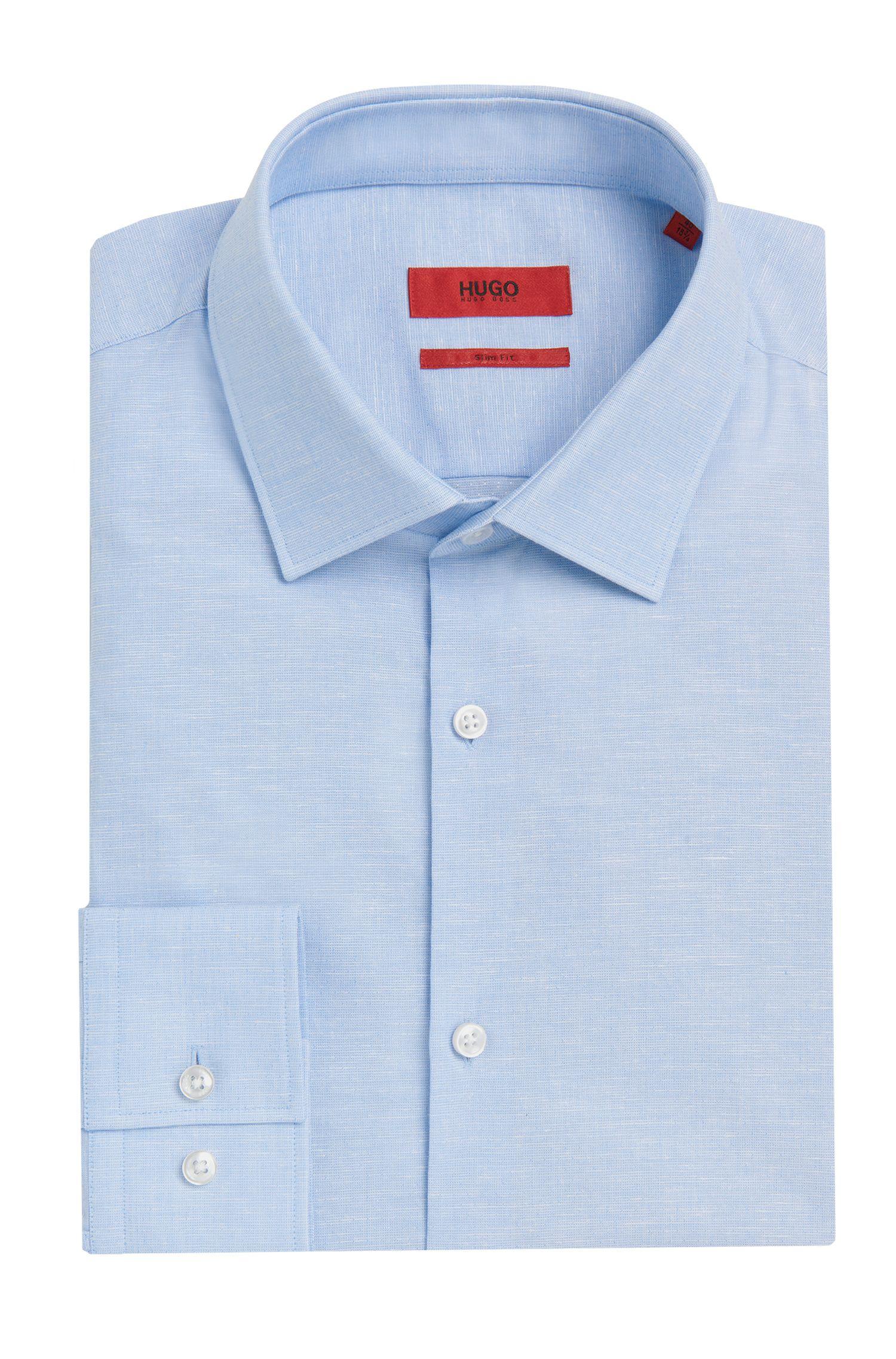 Slim-fit overhemd van een katoenmix met een subtiel dessin: 'C-Jenno'