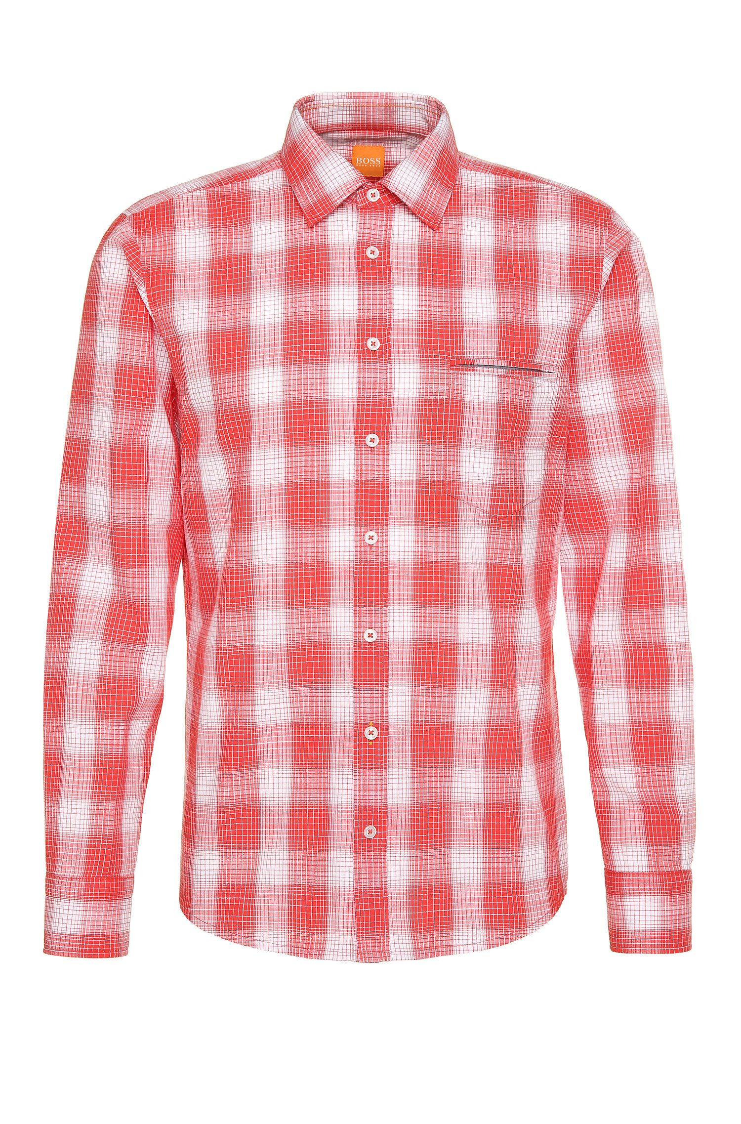 Checked regular-fit shirt in textured cotton: 'Classy'
