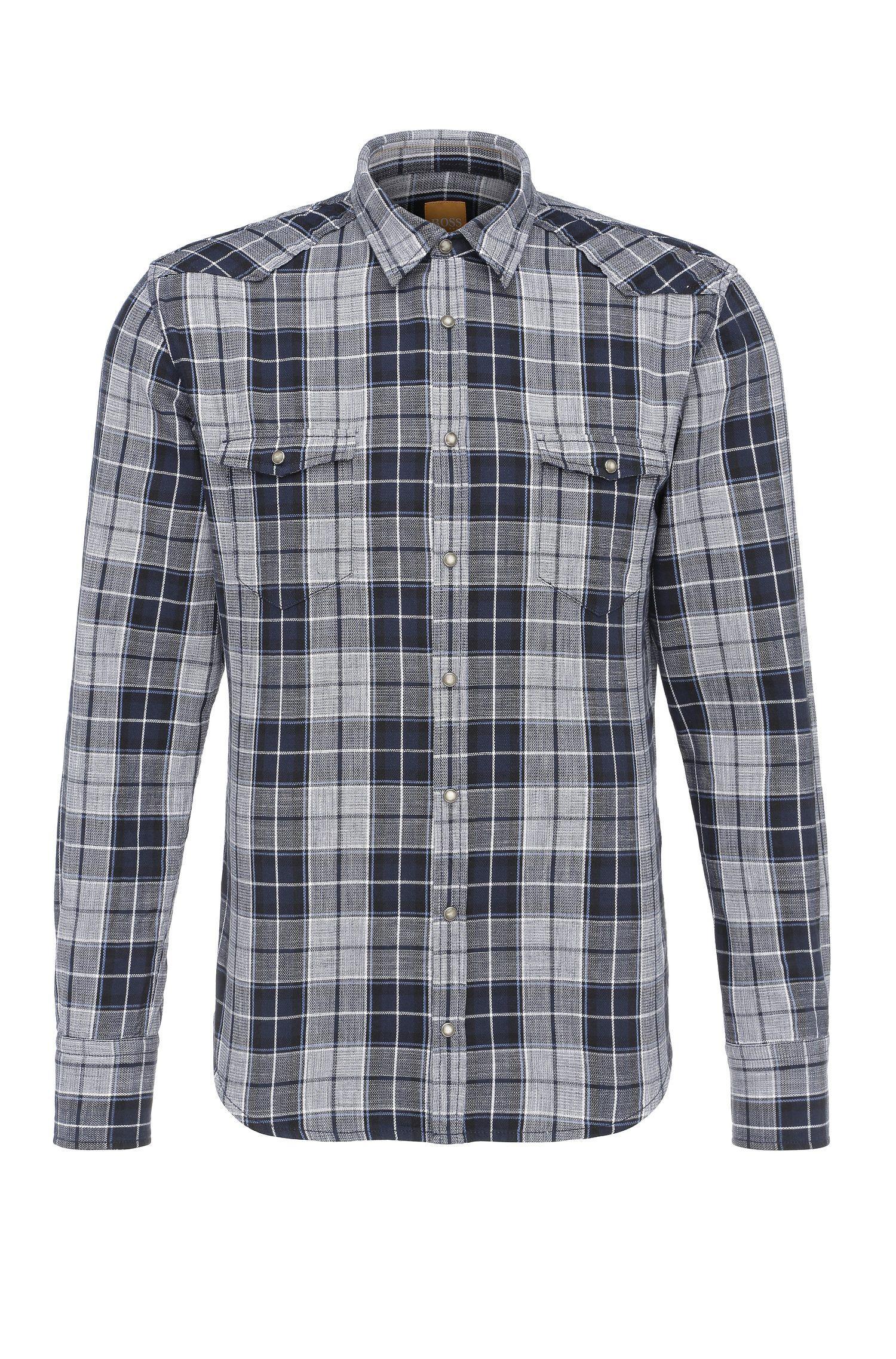 Geruit slim-fit overhemd van katoen in westernstijl: 'Erodeo'
