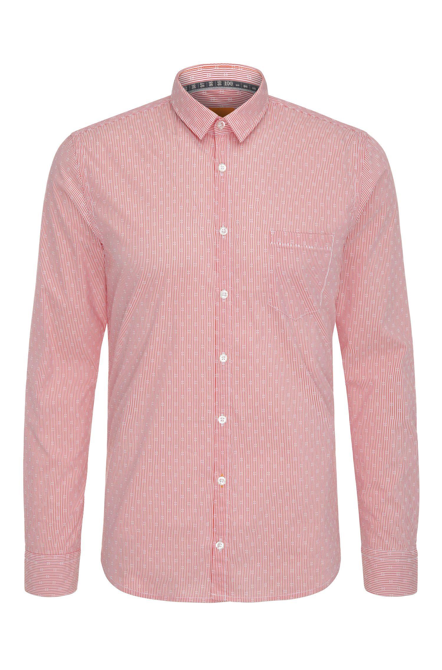 Gestreiftes Extra Slim-Fit Hemd aus Baumwoll-Mix mit Elasthan: ´Eglam`