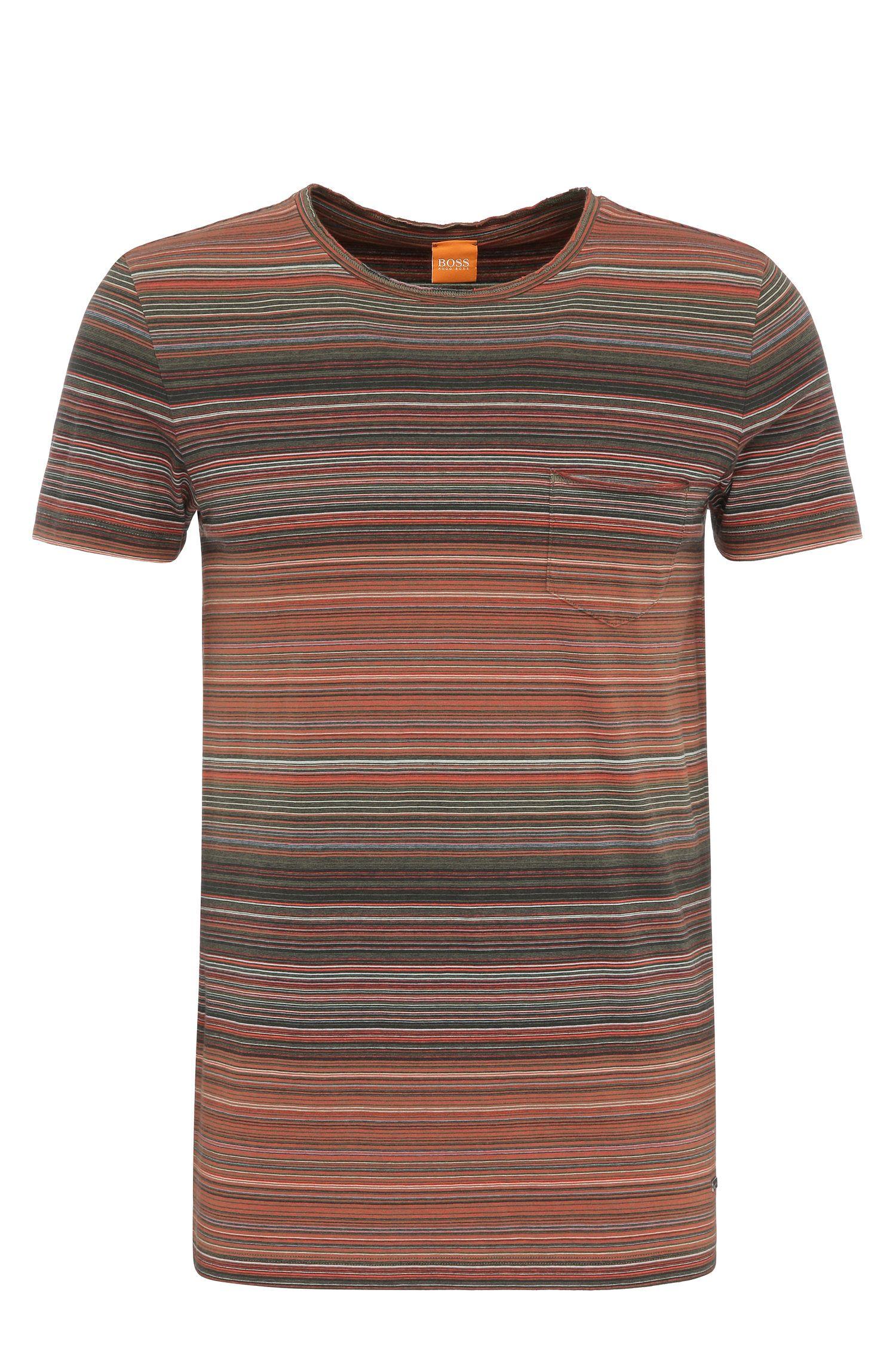 T-shirt Slim Fit à rayures en coton: «Tedryk»